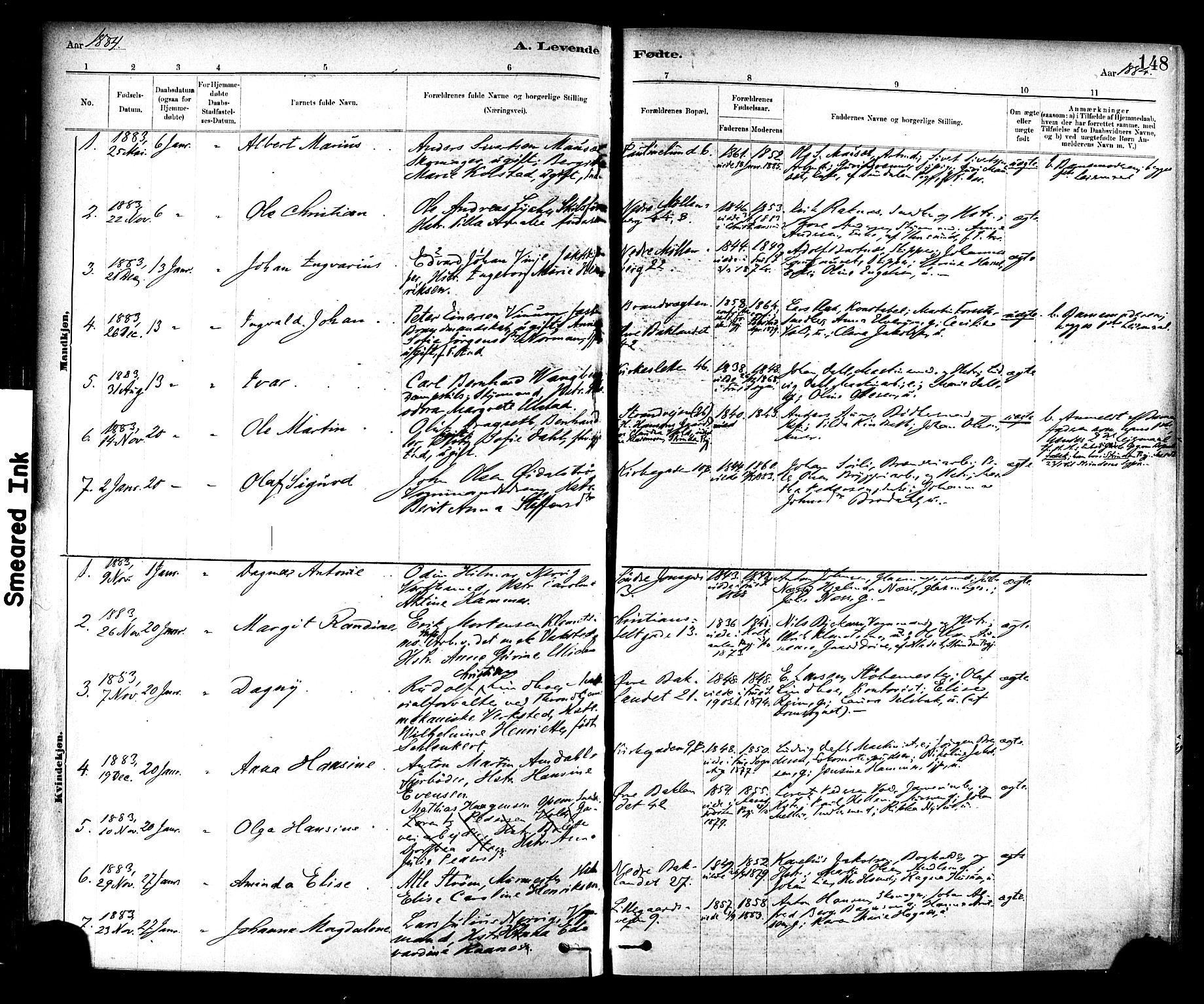 SAT, Ministerialprotokoller, klokkerbøker og fødselsregistre - Sør-Trøndelag, 604/L0188: Ministerialbok nr. 604A09, 1878-1892, s. 148