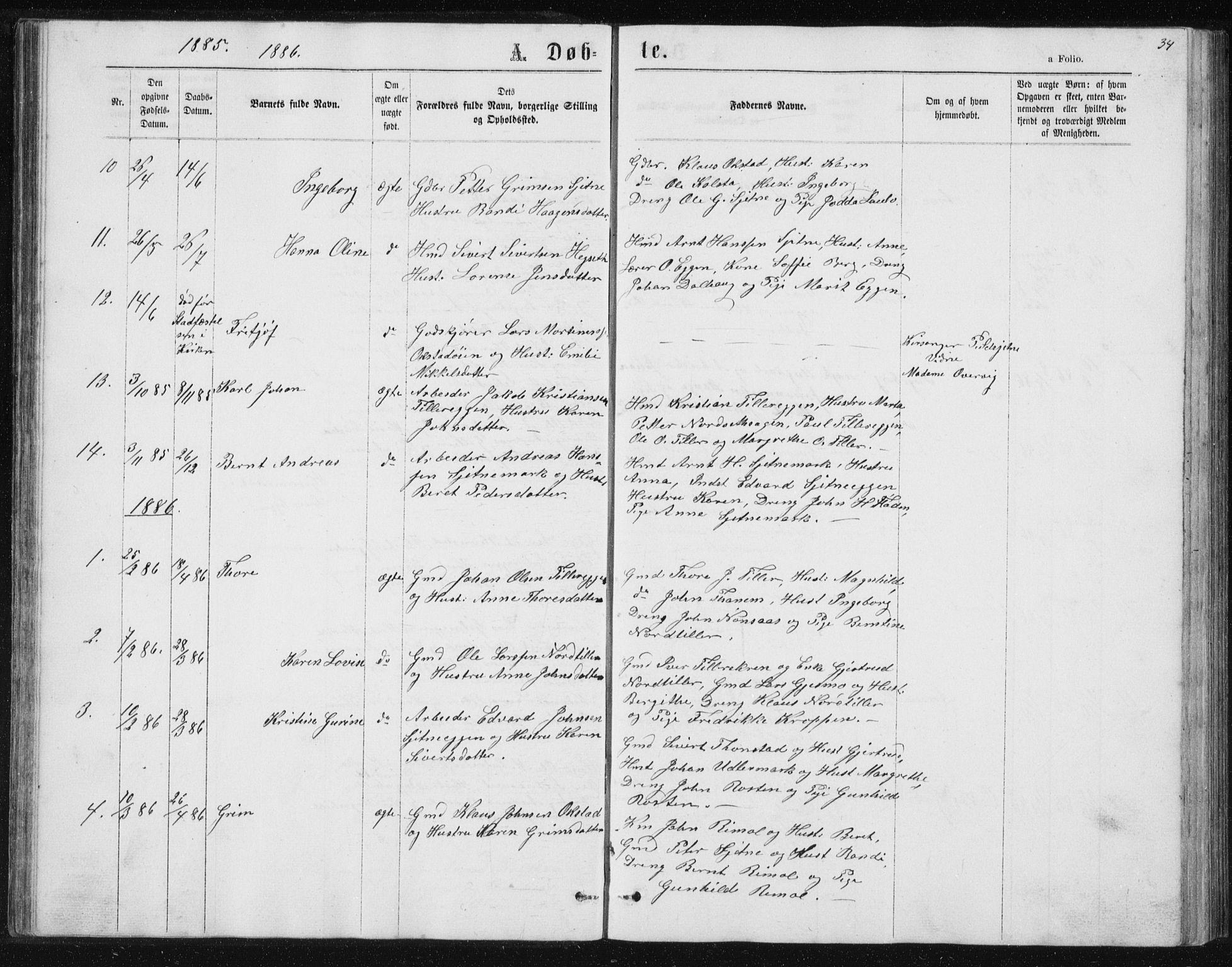 SAT, Ministerialprotokoller, klokkerbøker og fødselsregistre - Sør-Trøndelag, 621/L0459: Klokkerbok nr. 621C02, 1866-1895, s. 34