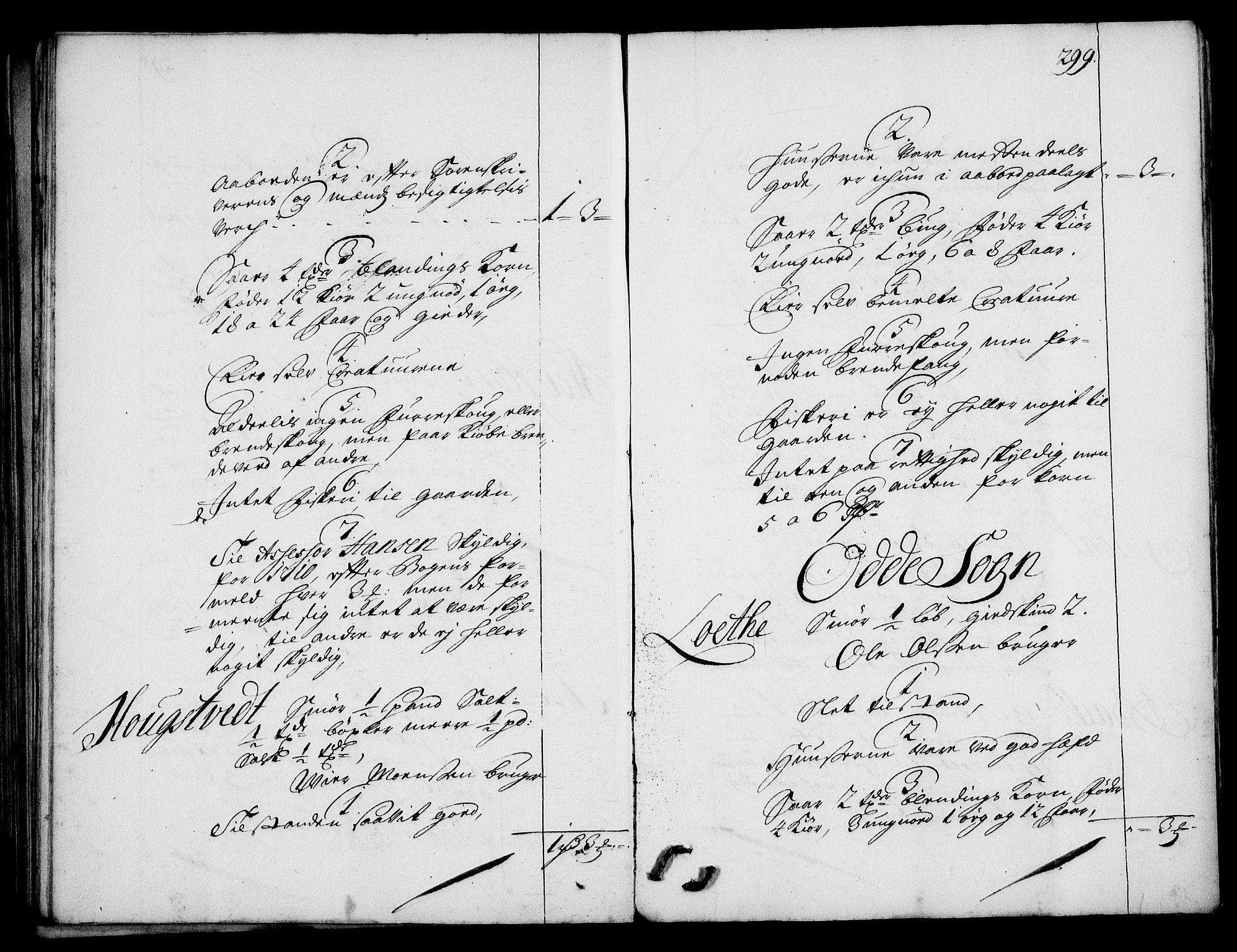 RA, Rentekammeret inntil 1814, Realistisk ordnet avdeling, On/L0003: [Jj 4]: Kommisjonsforretning over Vilhelm Hanssøns forpaktning av Halsnøy klosters gods, 1712-1722, s. 298b-299a
