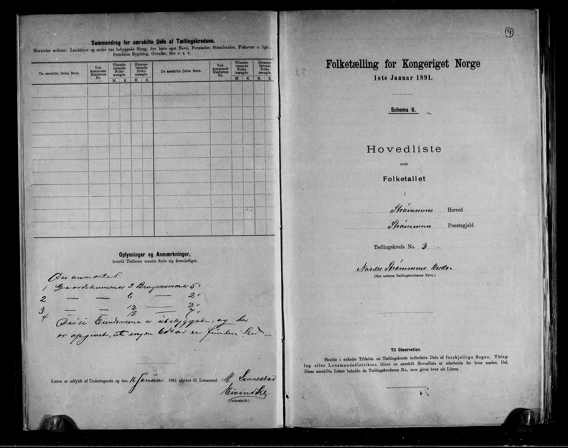 RA, Folketelling 1891 for 0711 Strømm herred, 1891, s. 9