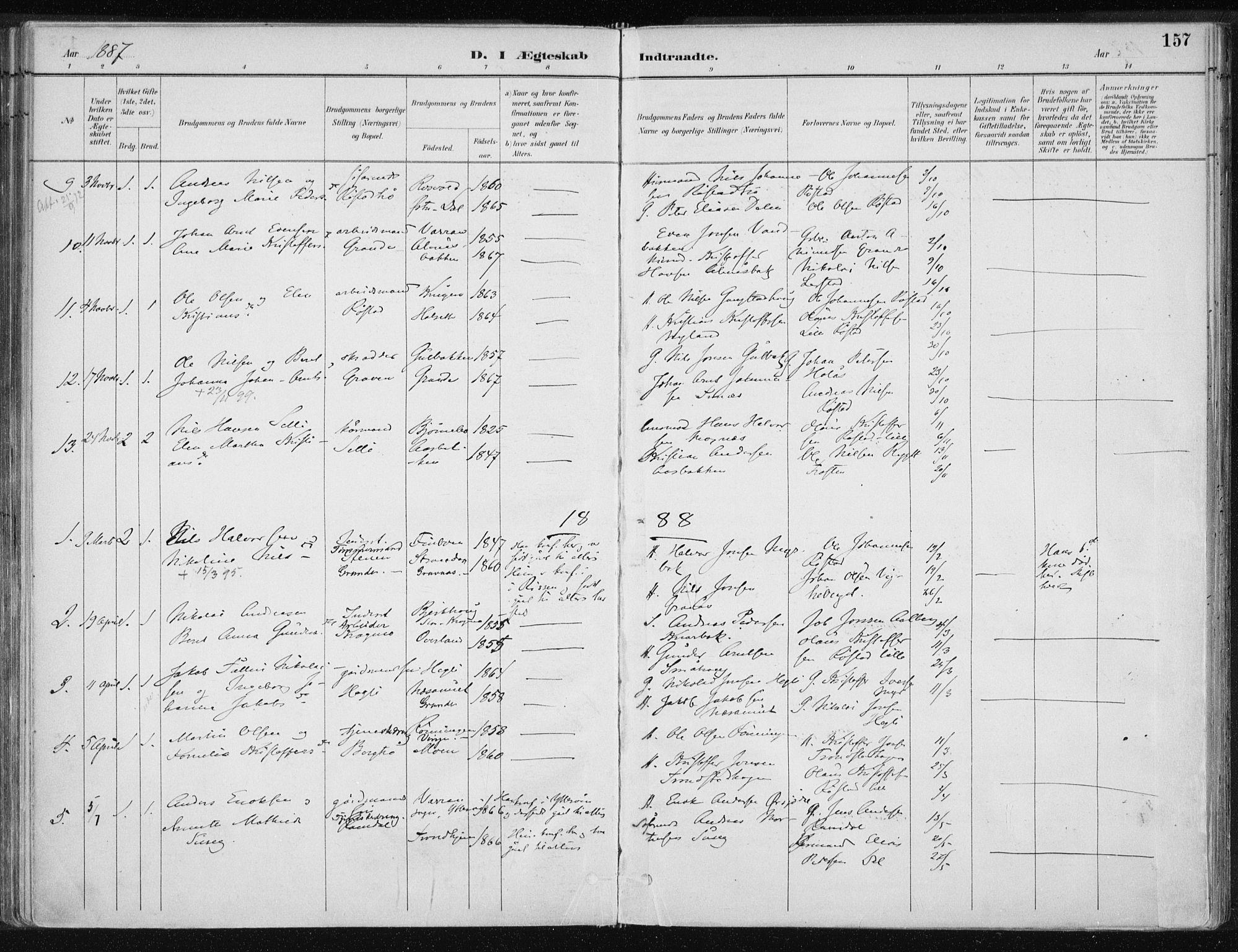 SAT, Ministerialprotokoller, klokkerbøker og fødselsregistre - Nord-Trøndelag, 701/L0010: Ministerialbok nr. 701A10, 1883-1899, s. 157