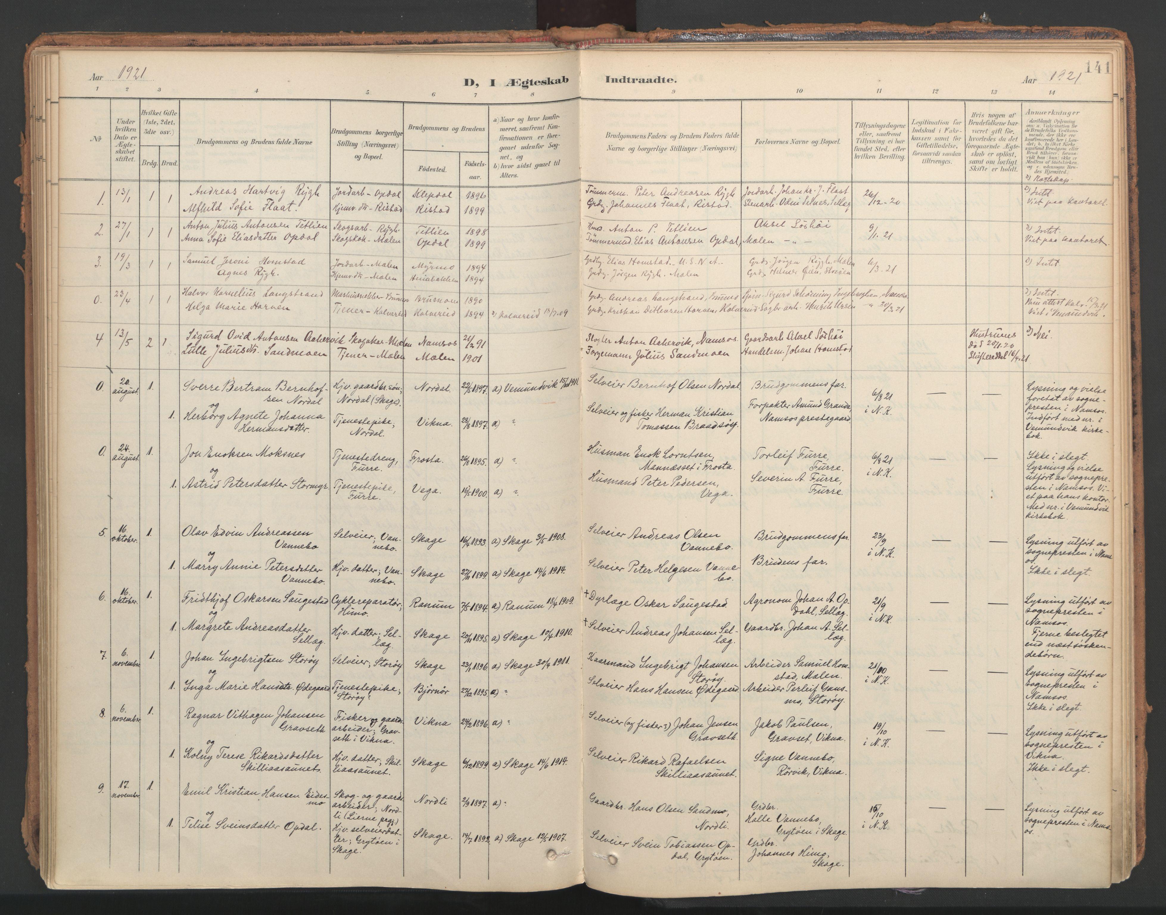 SAT, Ministerialprotokoller, klokkerbøker og fødselsregistre - Nord-Trøndelag, 766/L0564: Ministerialbok nr. 767A02, 1900-1932, s. 141