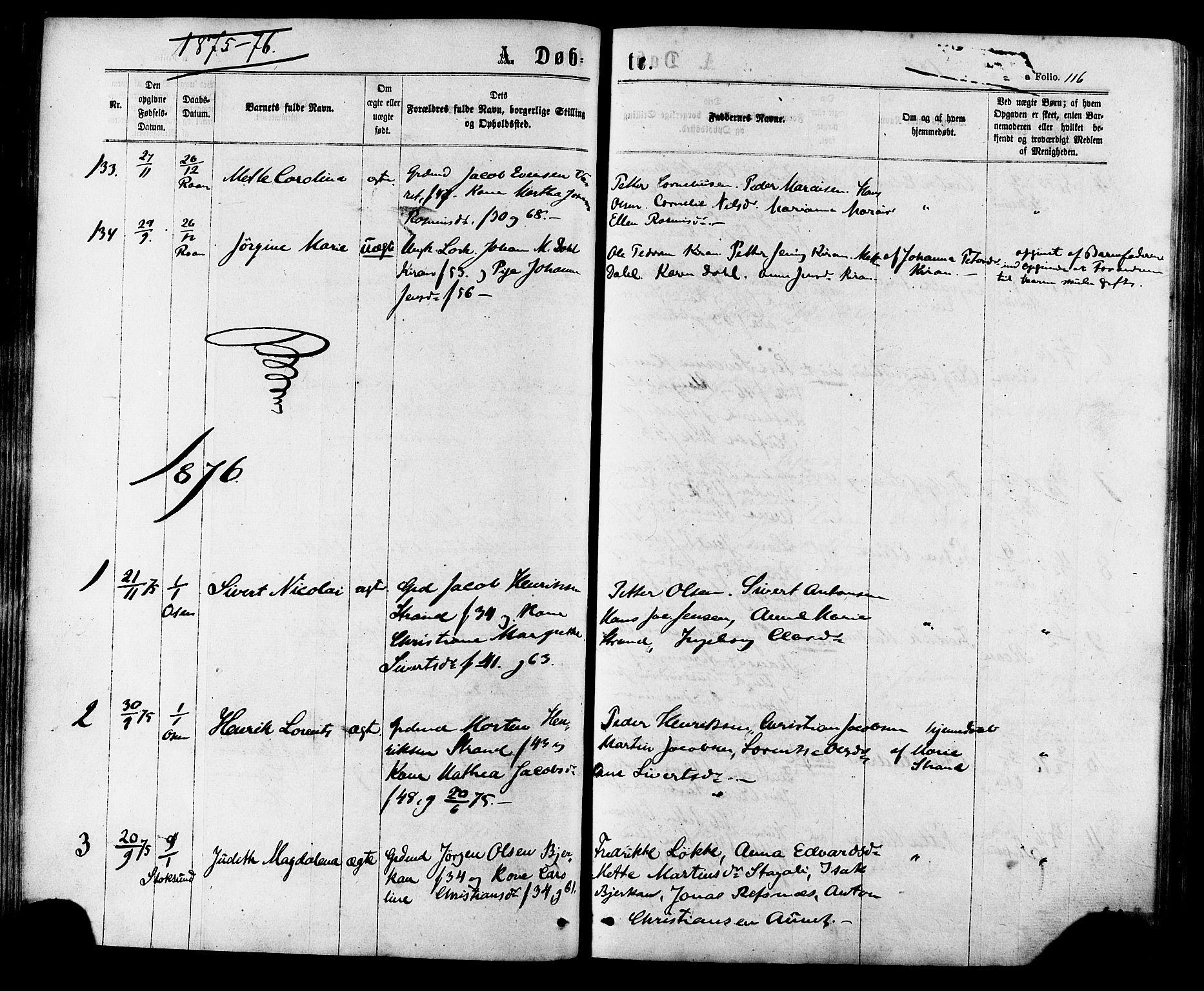 SAT, Ministerialprotokoller, klokkerbøker og fødselsregistre - Sør-Trøndelag, 657/L0706: Ministerialbok nr. 657A07, 1867-1878, s. 116