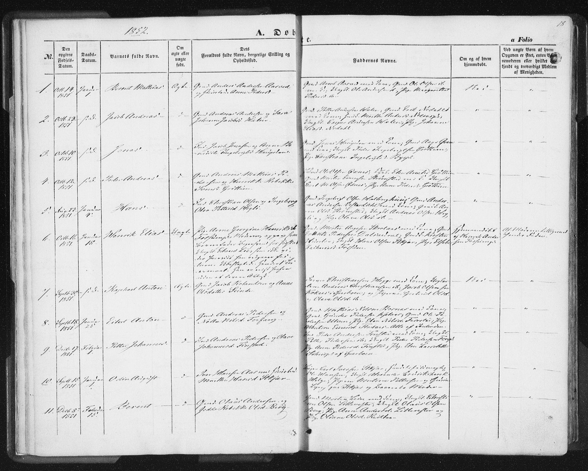 SAT, Ministerialprotokoller, klokkerbøker og fødselsregistre - Nord-Trøndelag, 746/L0446: Ministerialbok nr. 746A05, 1846-1859, s. 18