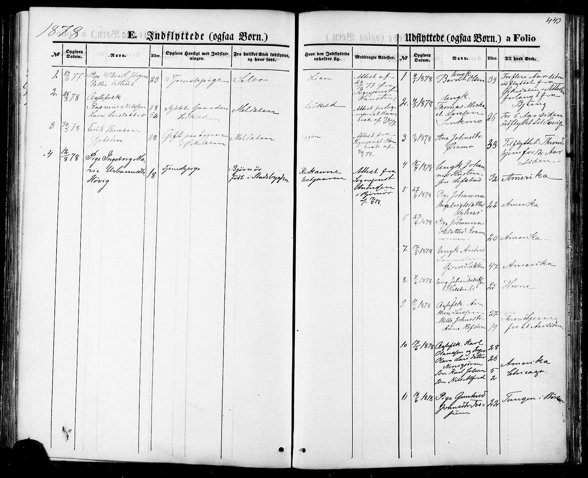 SAT, Ministerialprotokoller, klokkerbøker og fødselsregistre - Sør-Trøndelag, 668/L0807: Ministerialbok nr. 668A07, 1870-1880, s. 443