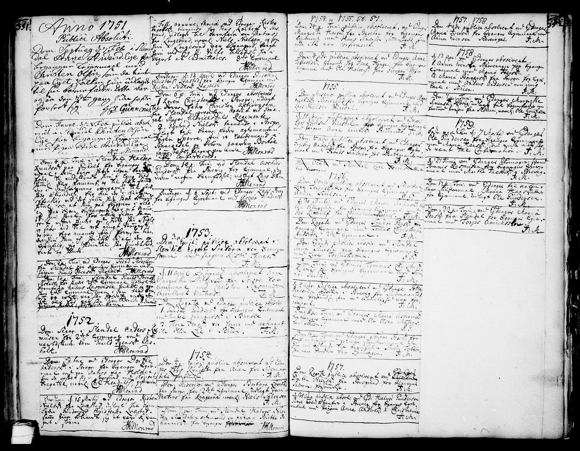 SAKO, Eidanger kirkebøker, F/Fa/L0004: Ministerialbok nr. 4, 1733-1759, s. 351-352