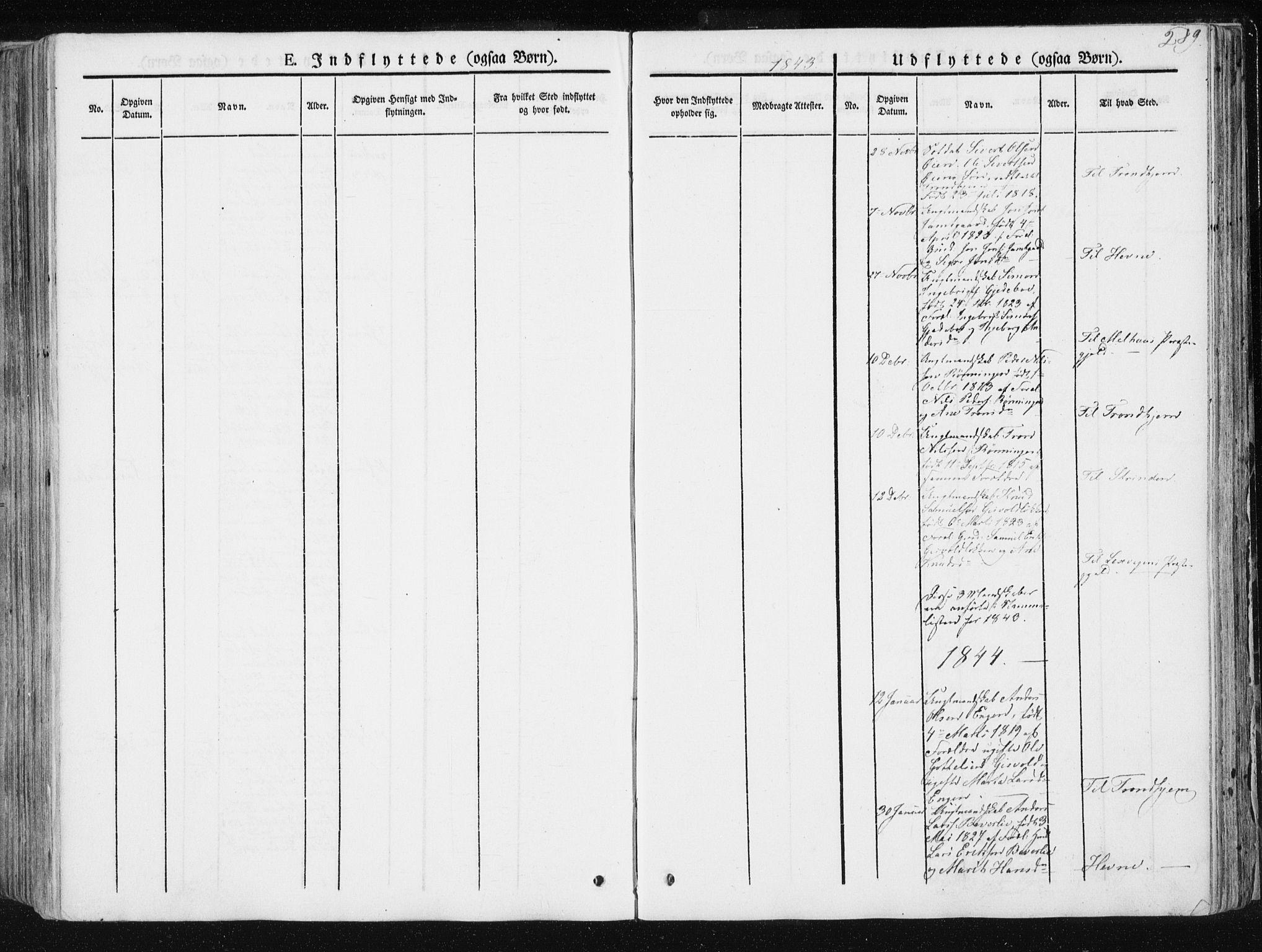 SAT, Ministerialprotokoller, klokkerbøker og fødselsregistre - Sør-Trøndelag, 668/L0805: Ministerialbok nr. 668A05, 1840-1853, s. 289