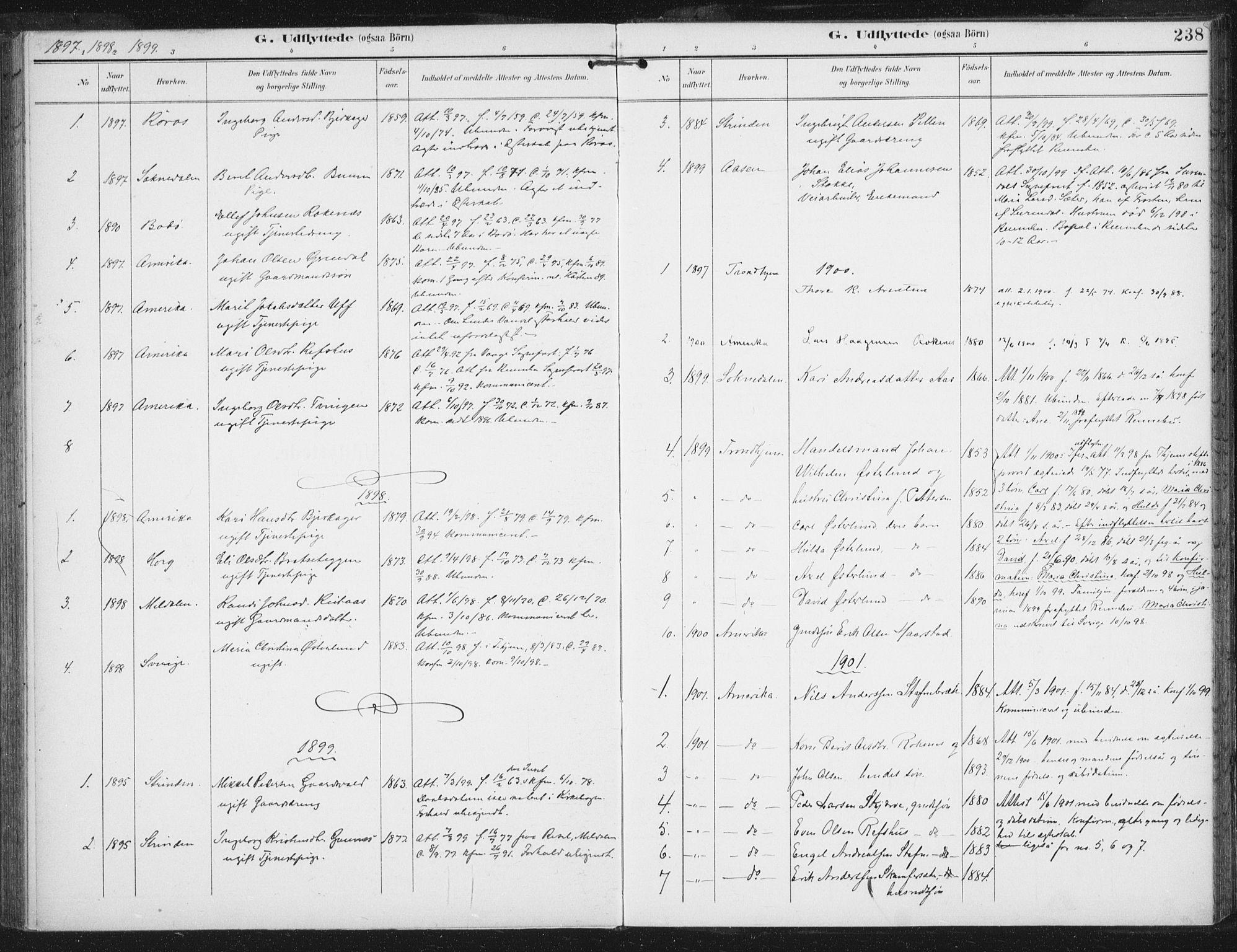 SAT, Ministerialprotokoller, klokkerbøker og fødselsregistre - Sør-Trøndelag, 674/L0872: Ministerialbok nr. 674A04, 1897-1907, s. 238