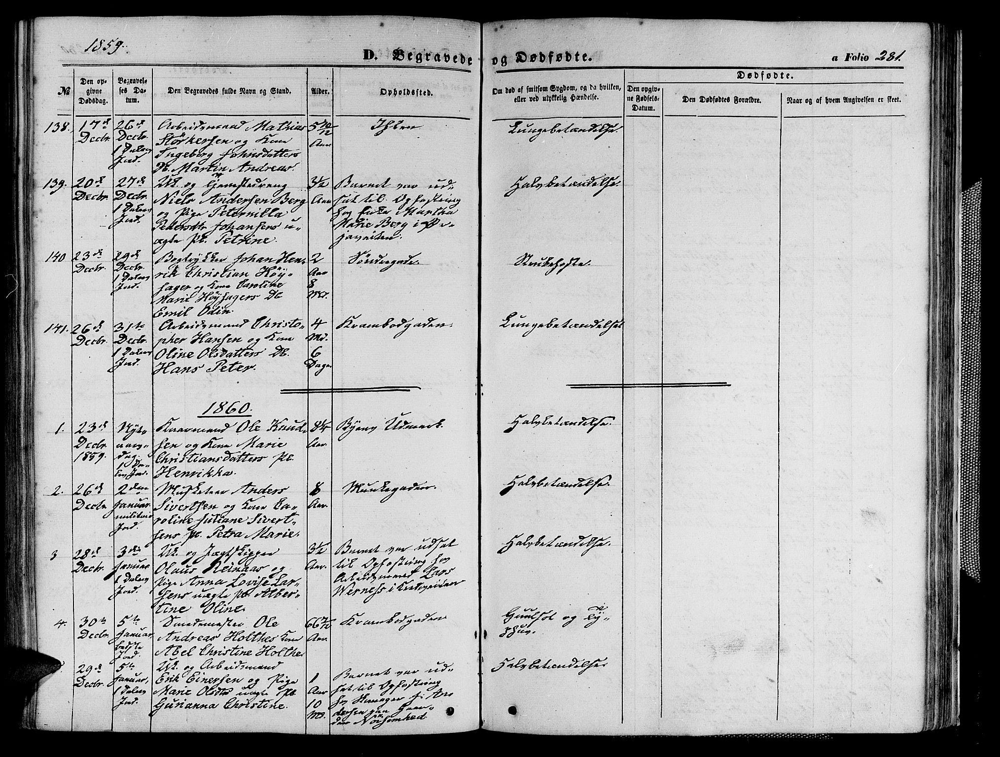 SAT, Ministerialprotokoller, klokkerbøker og fødselsregistre - Sør-Trøndelag, 602/L0139: Klokkerbok nr. 602C07, 1859-1864, s. 281