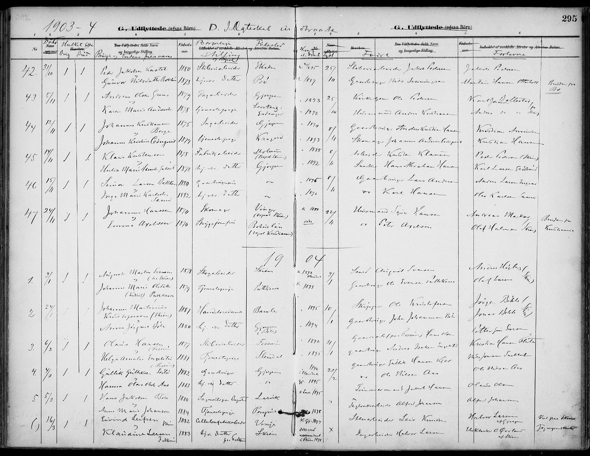 SAKO, Gjerpen kirkebøker, F/Fa/L0011: Ministerialbok nr. 11, 1896-1904, s. 295