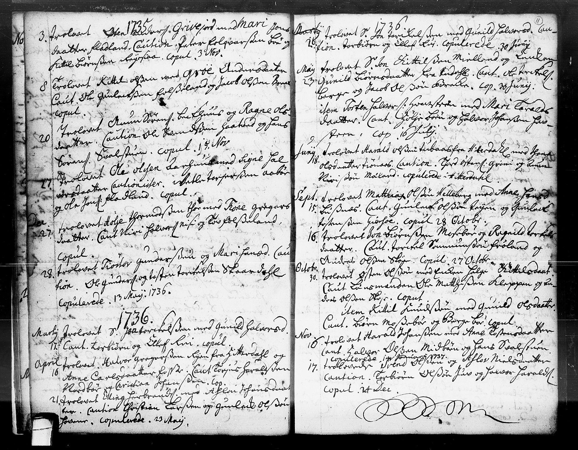 SAKO, Hjartdal kirkebøker, F/Fa/L0004: Ministerialbok nr. I 4, 1727-1795, s. 11