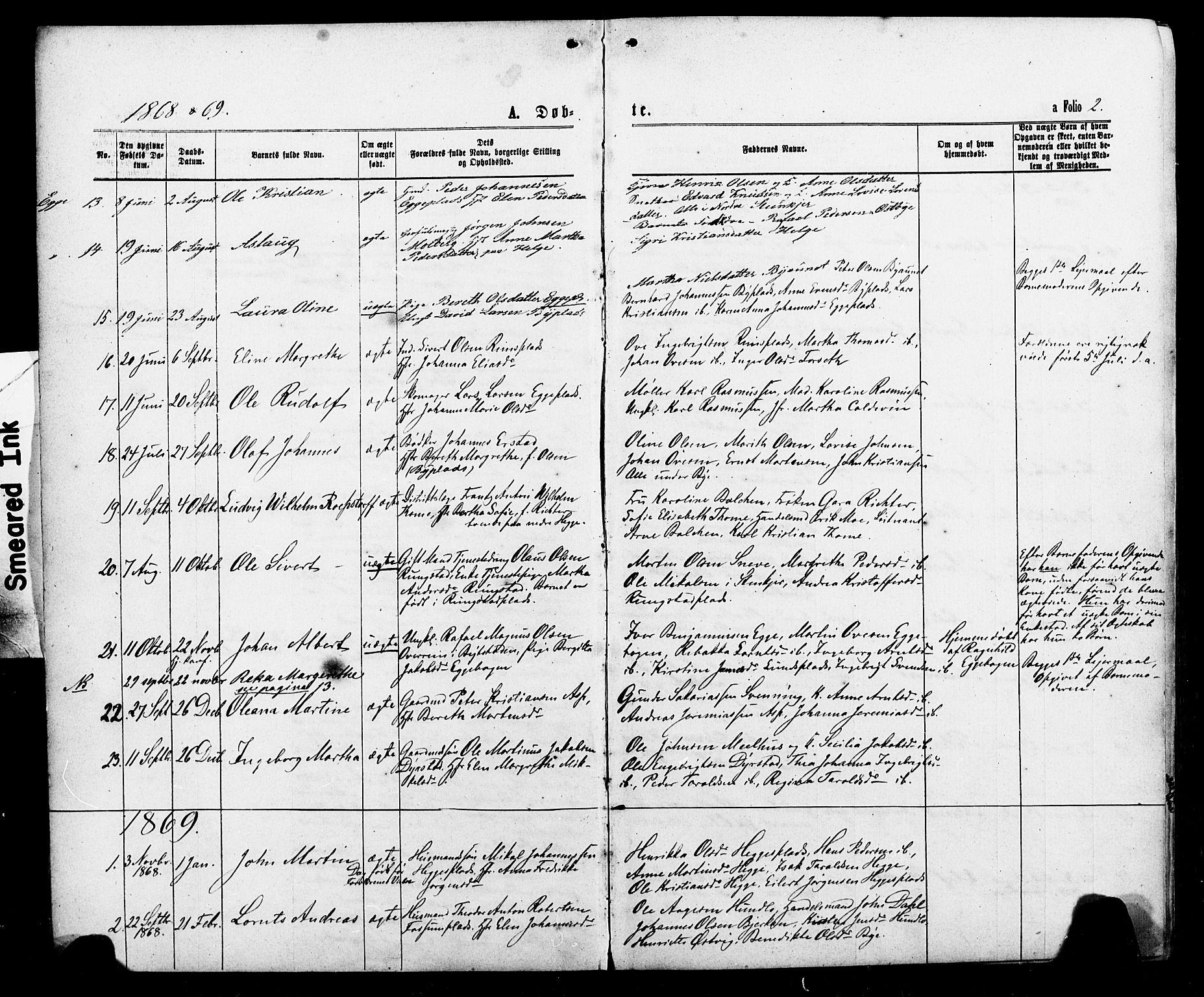 SAT, Ministerialprotokoller, klokkerbøker og fødselsregistre - Nord-Trøndelag, 740/L0380: Klokkerbok nr. 740C01, 1868-1902, s. 2