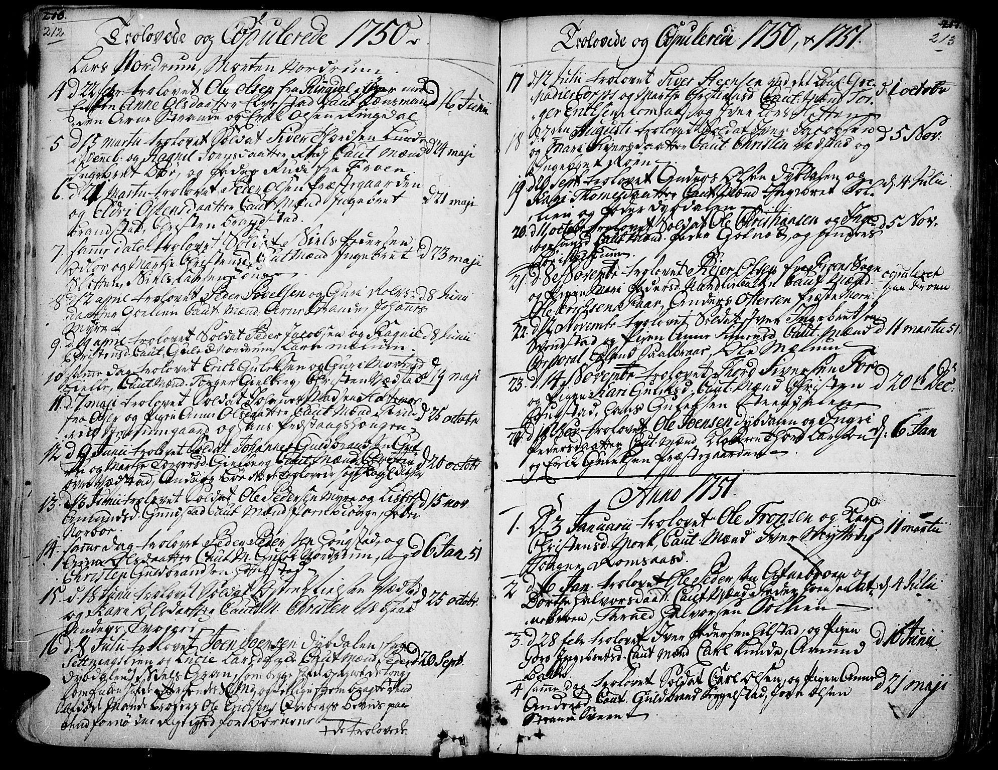SAH, Ringebu prestekontor, Ministerialbok nr. 2, 1734-1780, s. 212-213