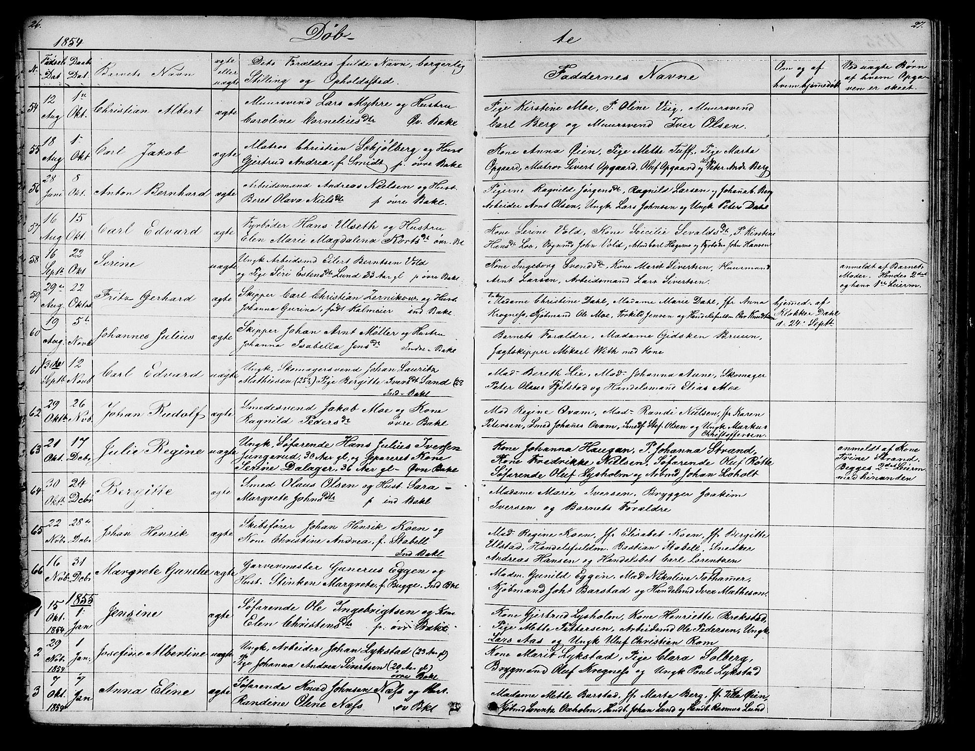 SAT, Ministerialprotokoller, klokkerbøker og fødselsregistre - Sør-Trøndelag, 604/L0219: Klokkerbok nr. 604C02, 1851-1869, s. 26-27