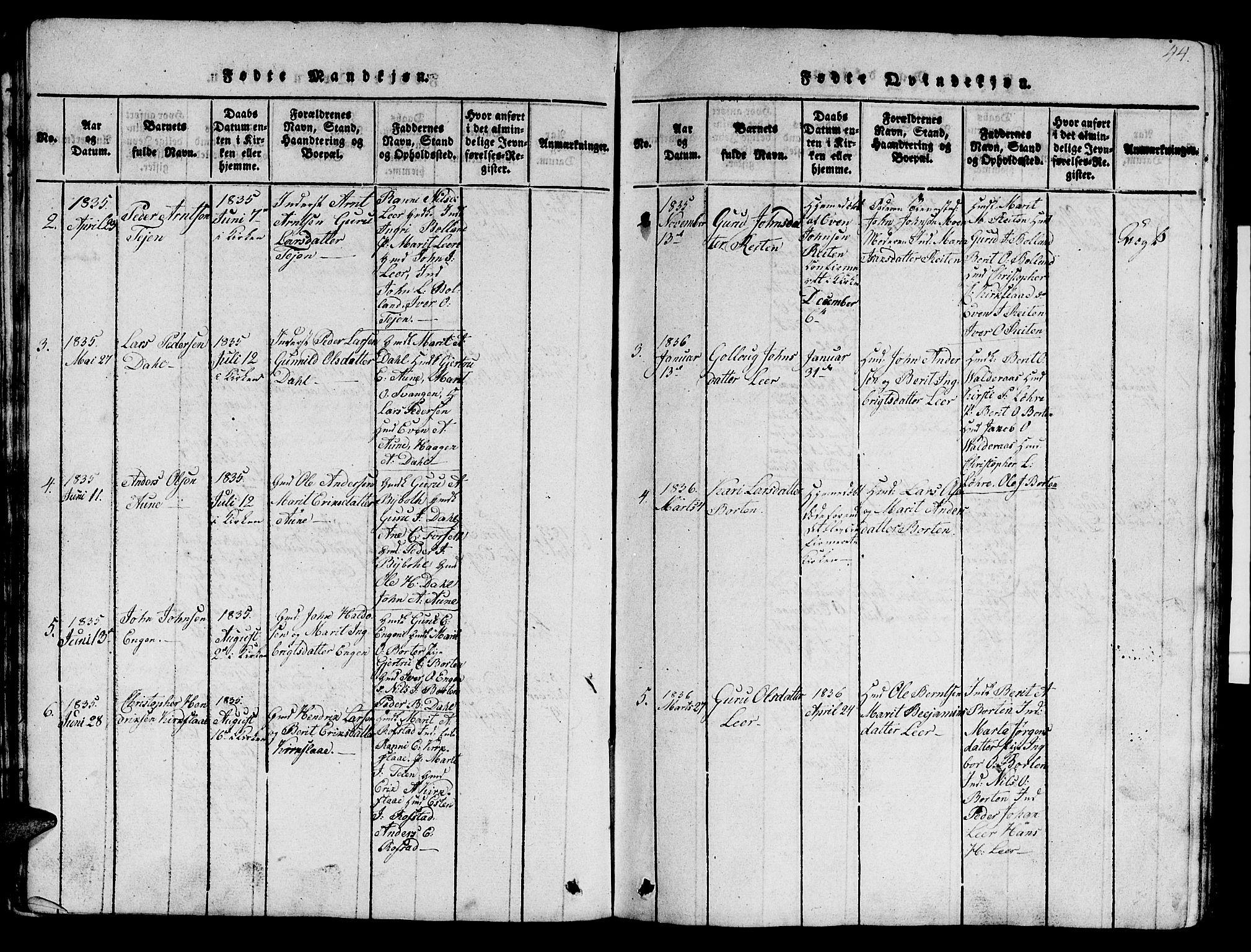 SAT, Ministerialprotokoller, klokkerbøker og fødselsregistre - Sør-Trøndelag, 693/L1121: Klokkerbok nr. 693C02, 1816-1869, s. 44