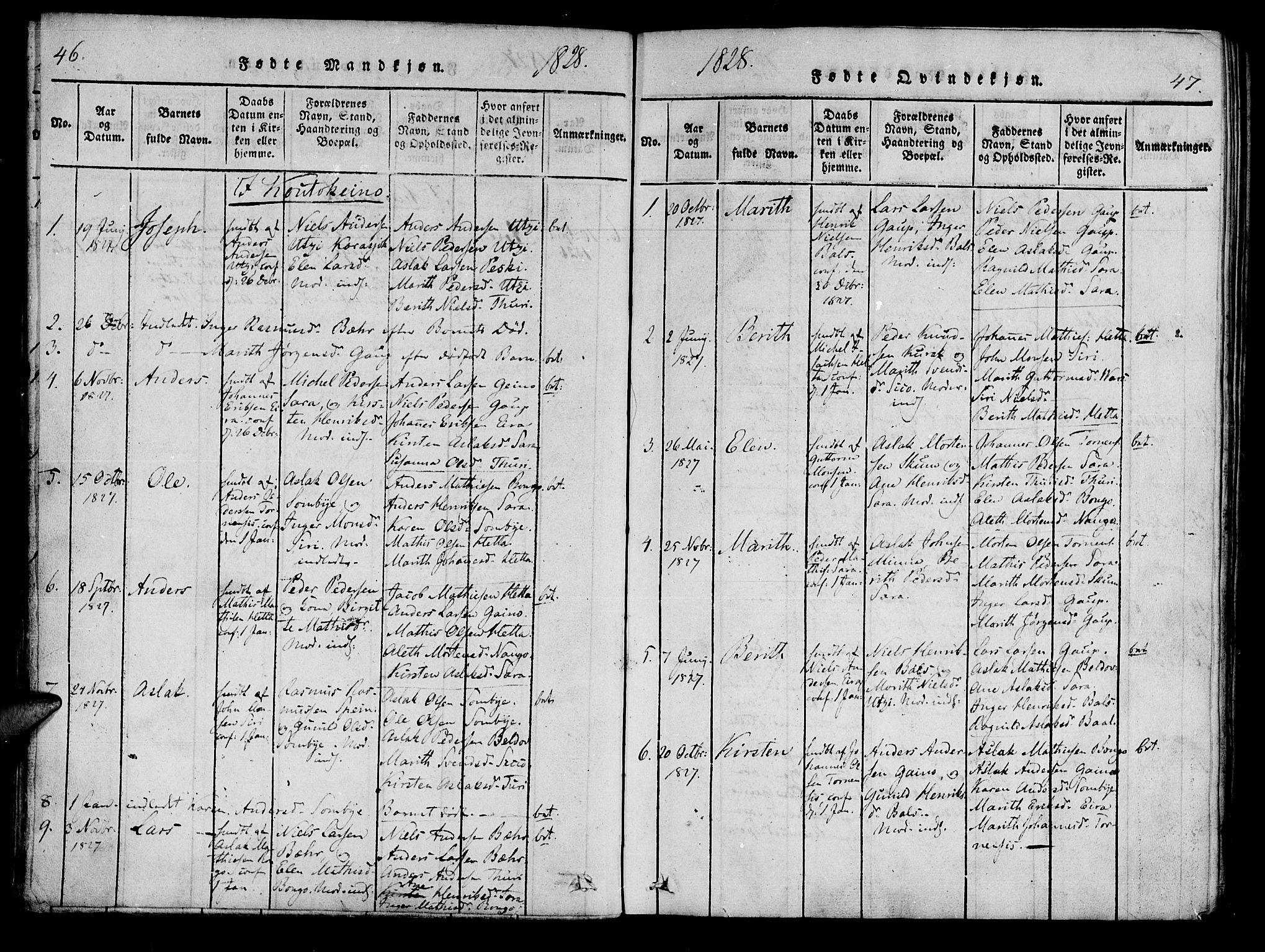 SATØ, Kistrand/Porsanger sokneprestembete, Ministerialbok nr. 10, 1821-1842, s. 46-47