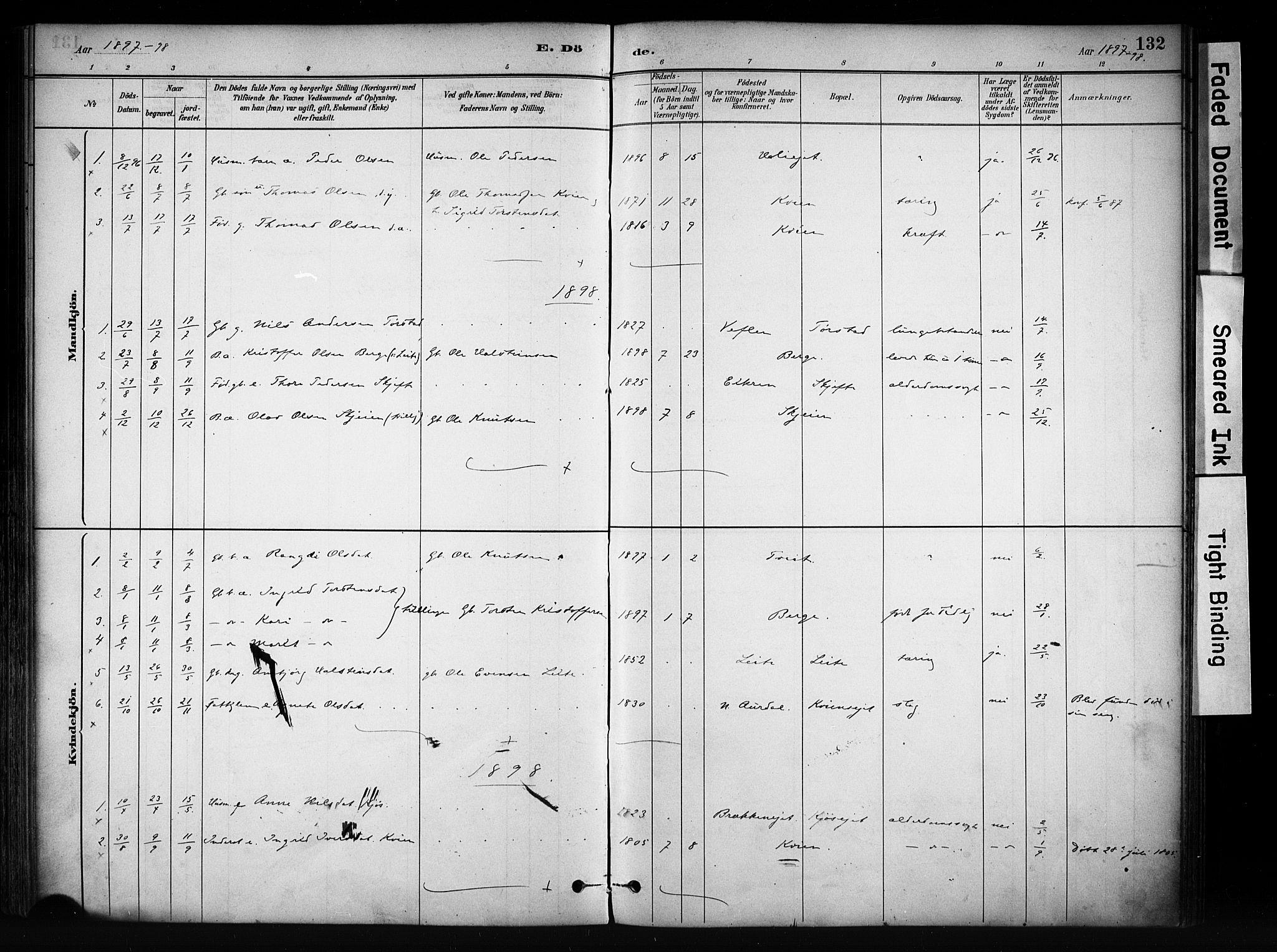 SAH, Vang prestekontor, Valdres, Ministerialbok nr. 9, 1882-1914, s. 132