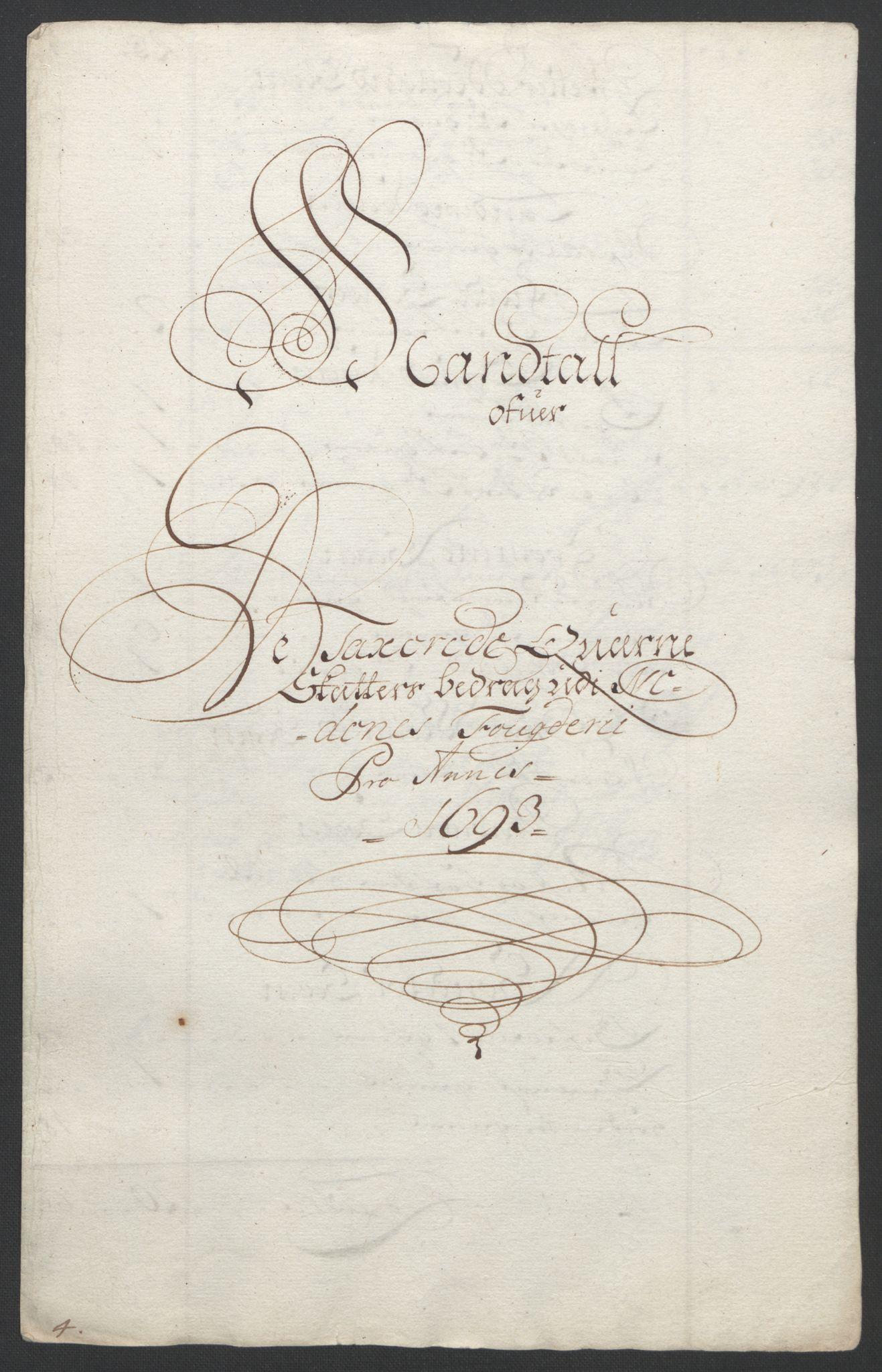 RA, Rentekammeret inntil 1814, Reviderte regnskaper, Fogderegnskap, R39/L2312: Fogderegnskap Nedenes, 1693-1695, s. 30