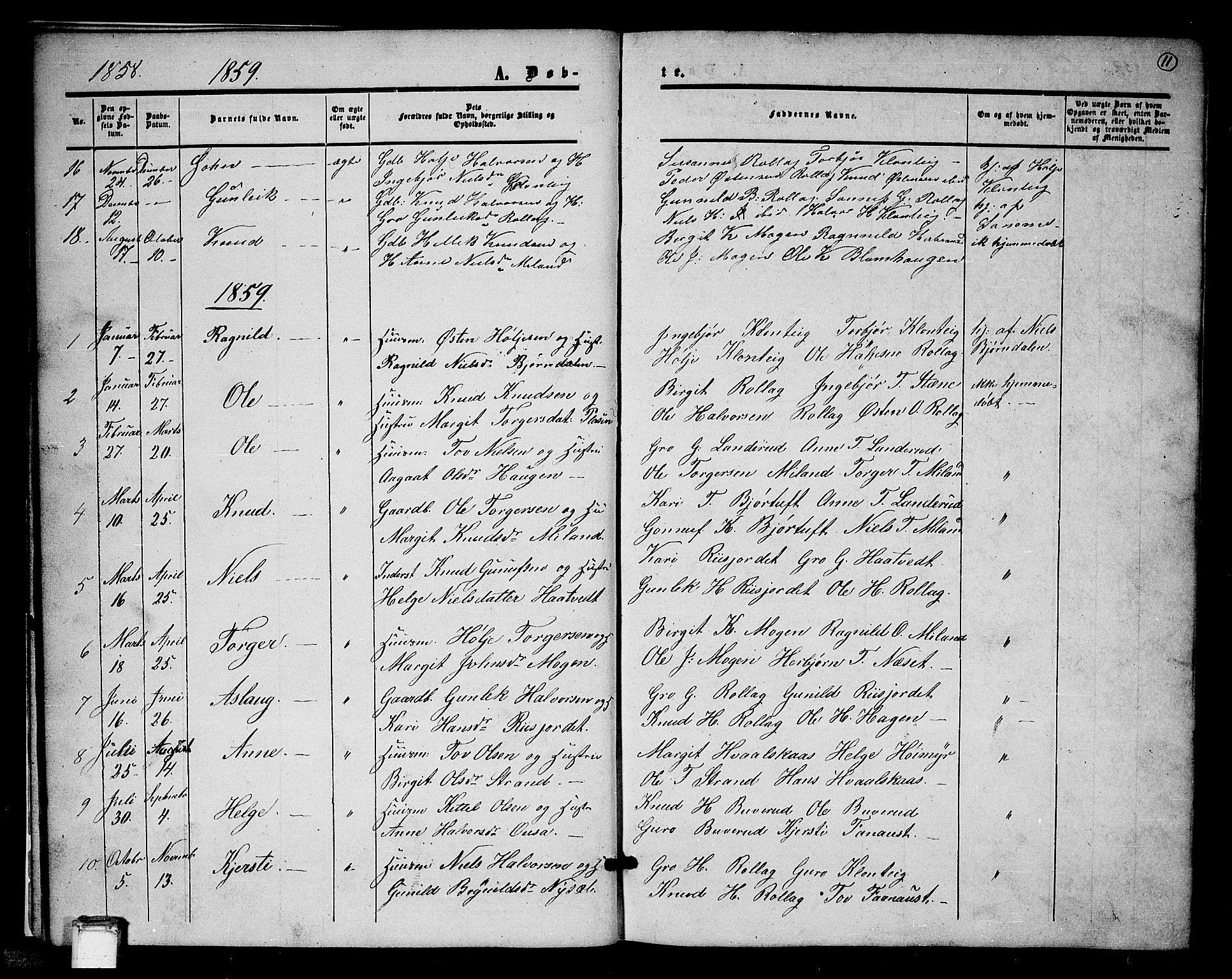 SAKO, Tinn kirkebøker, G/Gb/L0002: Klokkerbok nr. II 2, 1851-1886, s. 11