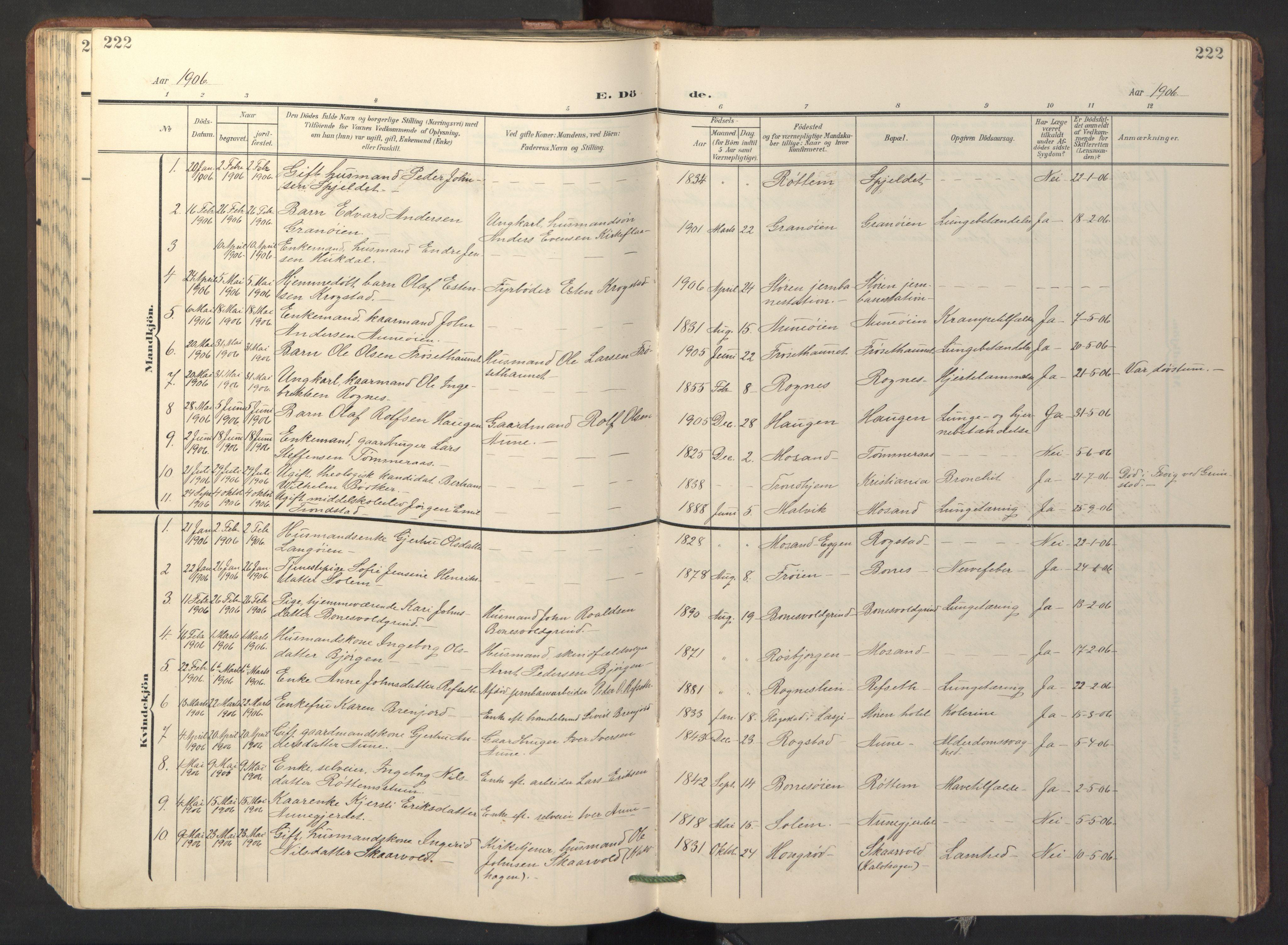SAT, Ministerialprotokoller, klokkerbøker og fødselsregistre - Sør-Trøndelag, 687/L1019: Klokkerbok nr. 687C03, 1904-1931, s. 222