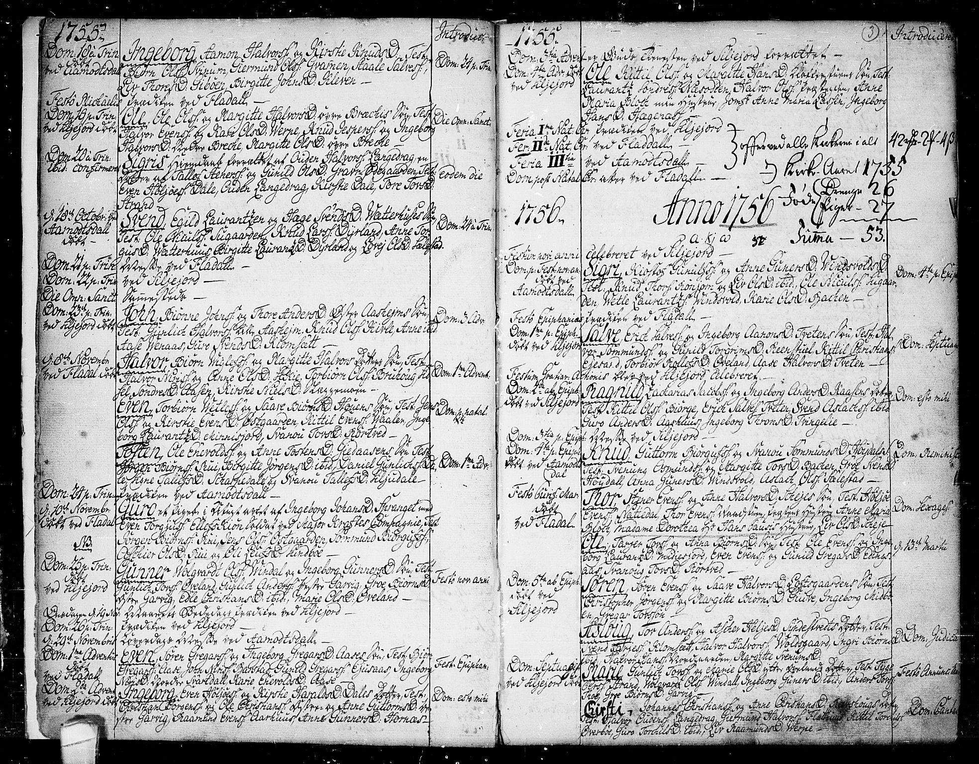 SAKO, Seljord kirkebøker, F/Fa/L0007: Ministerialbok nr. I 7, 1755-1800, s. 3