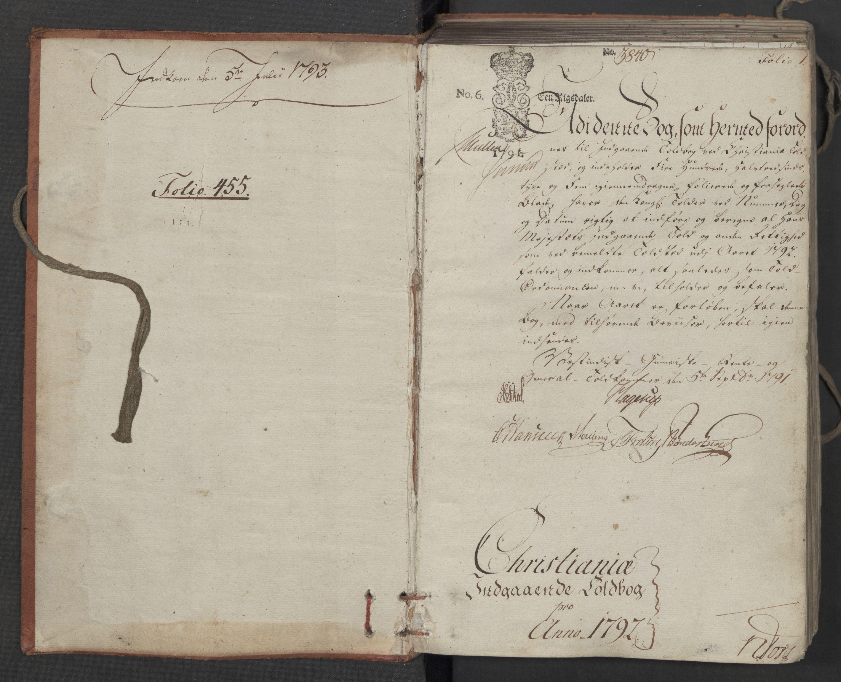 RA, Generaltollkammeret, tollregnskaper, R06/L0186a: Tollregnskaper Kristiania, 1790-1792, s. 1a