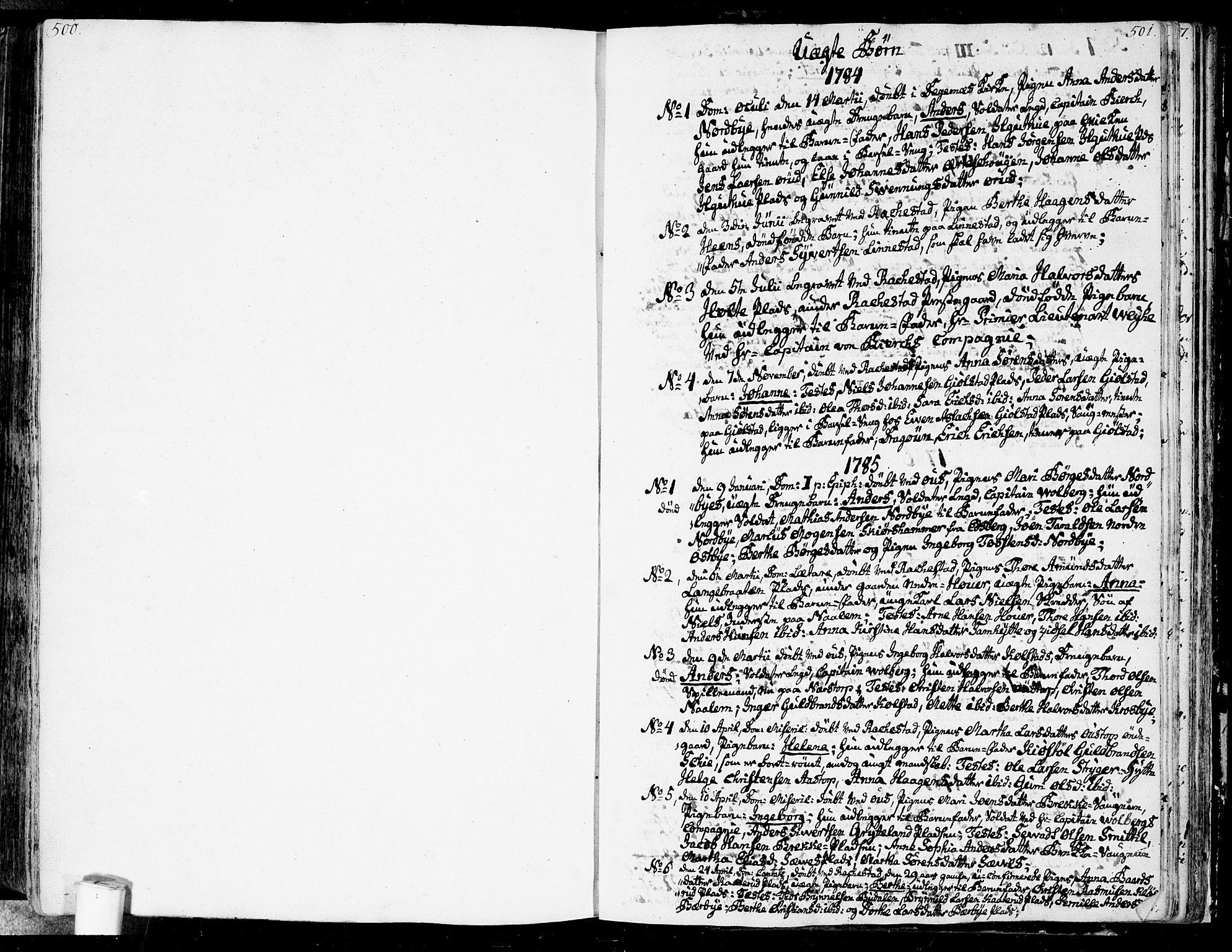 SAO, Rakkestad prestekontor Kirkebøker, F/Fa/L0005: Ministerialbok nr. I 5, 1784-1814, s. 500-501