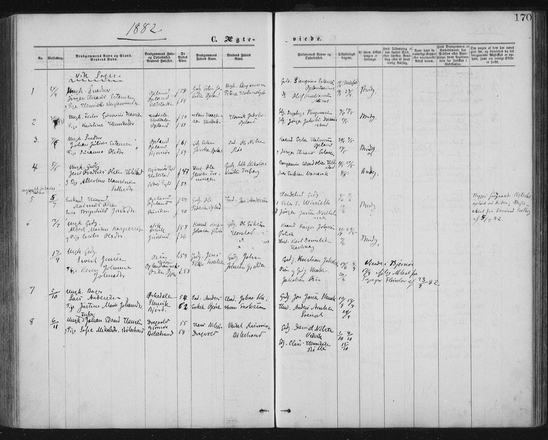 SAT, Ministerialprotokoller, klokkerbøker og fødselsregistre - Nord-Trøndelag, 771/L0596: Ministerialbok nr. 771A03, 1870-1884, s. 170
