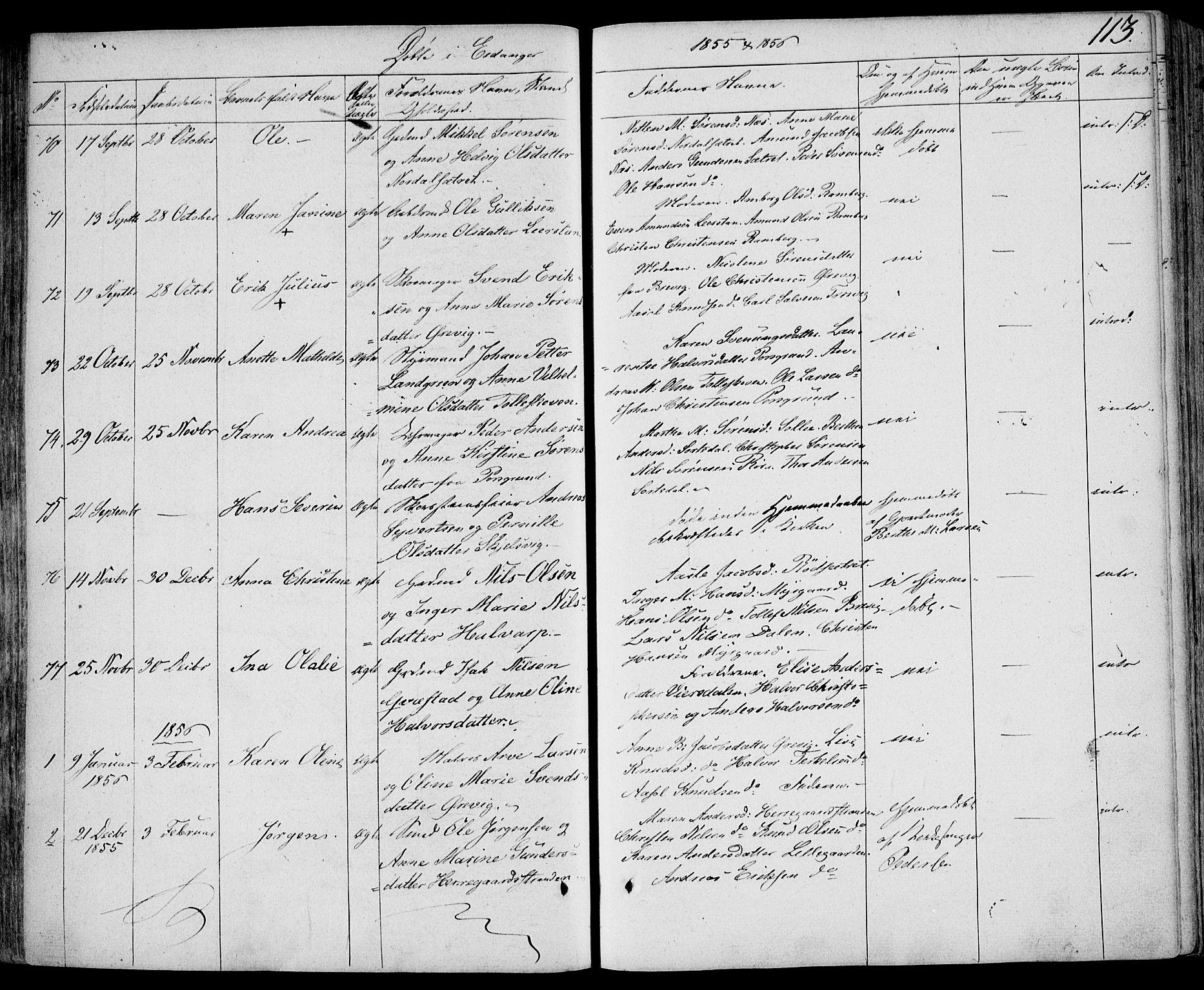 SAKO, Eidanger kirkebøker, F/Fa/L0008: Ministerialbok nr. 8, 1831-1858, s. 113