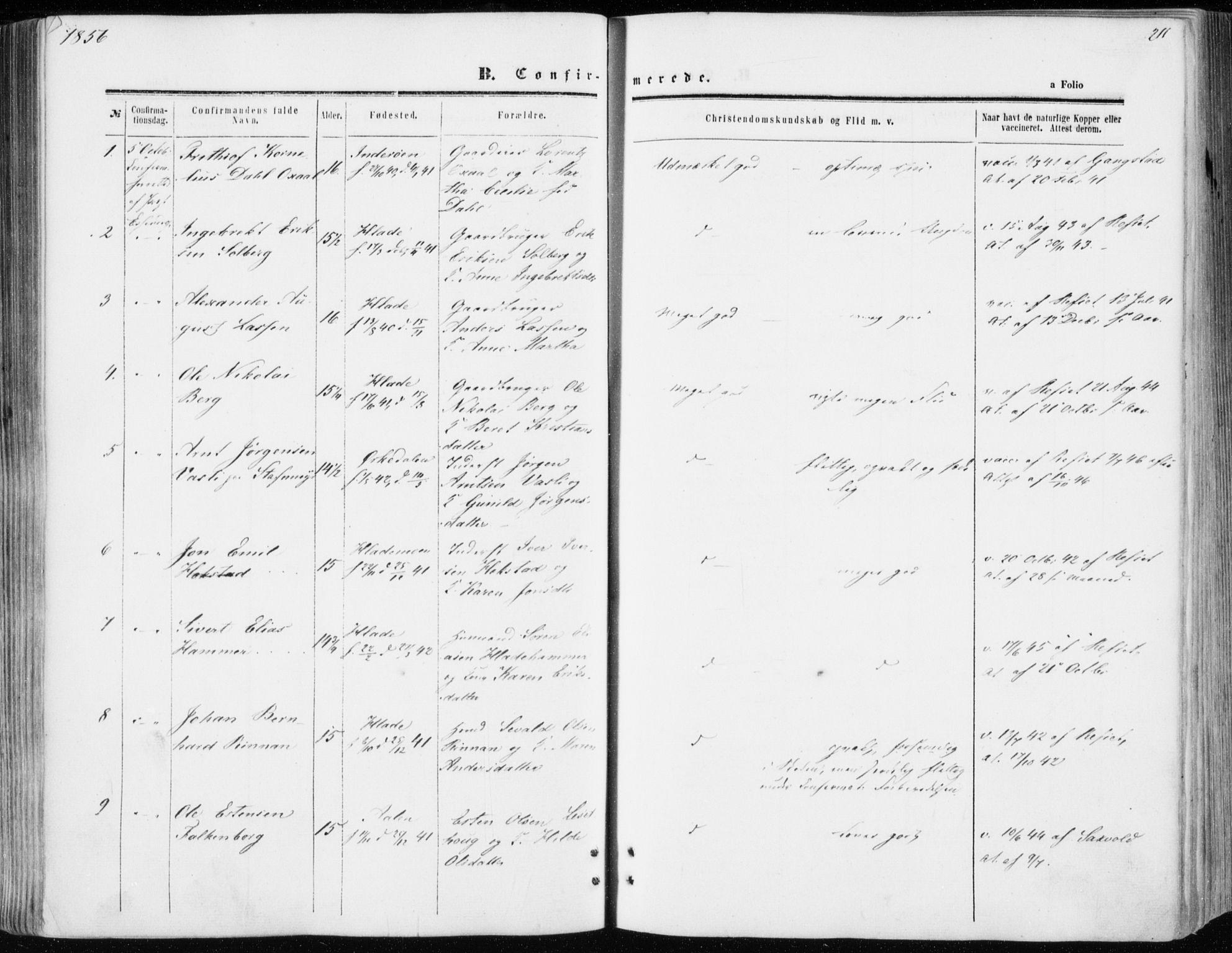 SAT, Ministerialprotokoller, klokkerbøker og fødselsregistre - Sør-Trøndelag, 606/L0292: Ministerialbok nr. 606A07, 1856-1865, s. 211