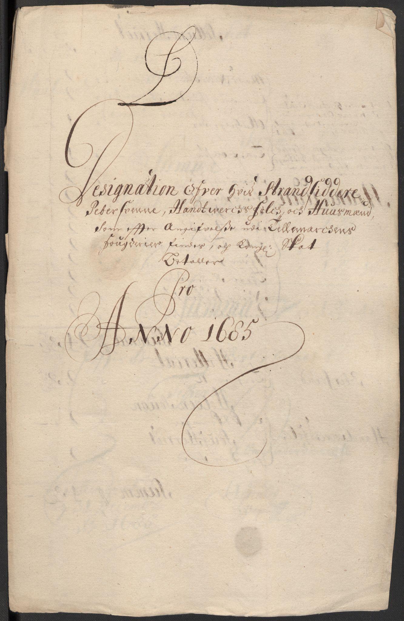 RA, Rentekammeret inntil 1814, Reviderte regnskaper, Fogderegnskap, R35/L2082: Fogderegnskap Øvre og Nedre Telemark, 1685, s. 75