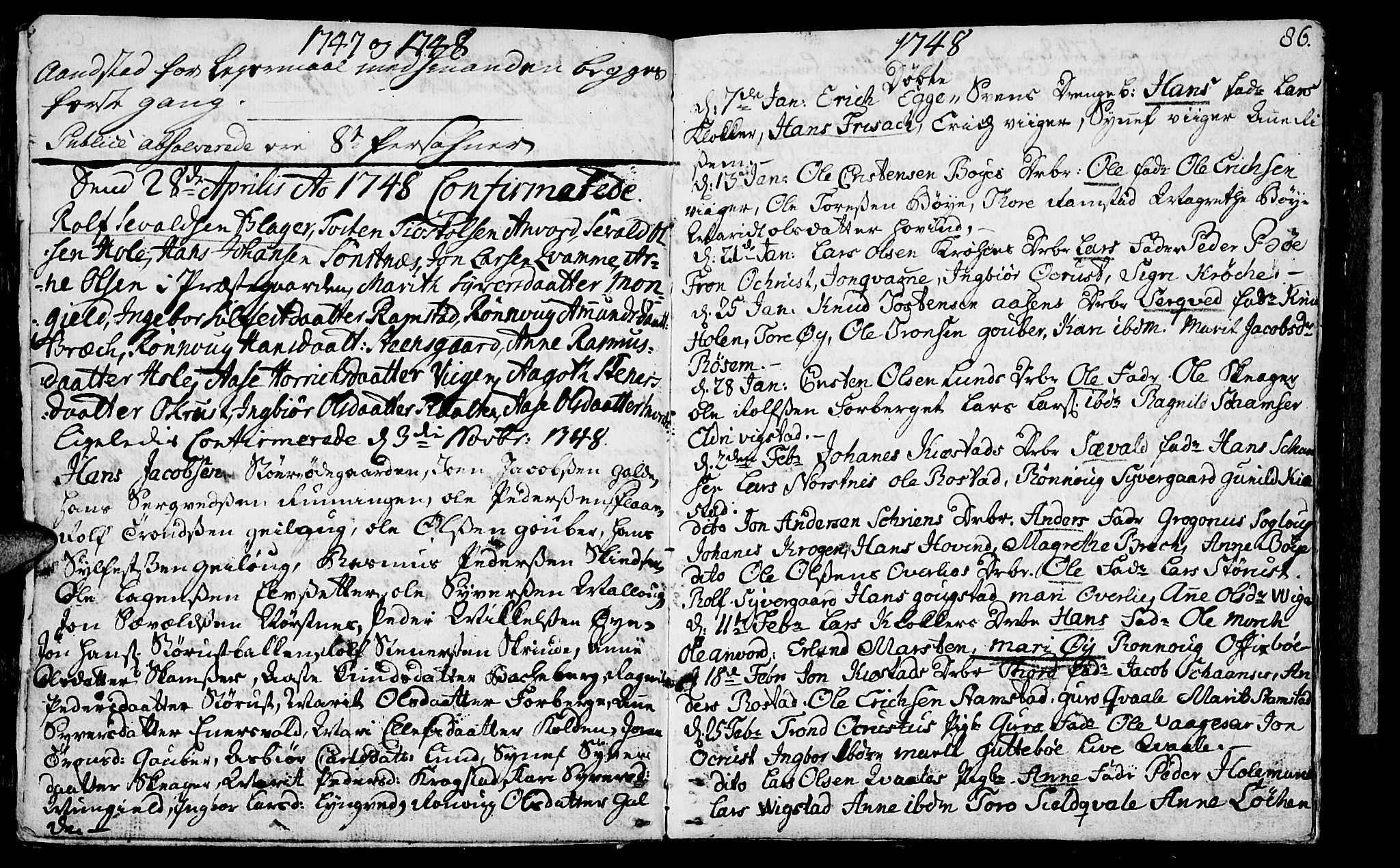SAH, Lom prestekontor, K/L0001: Ministerialbok nr. 1, 1733-1748, s. 86