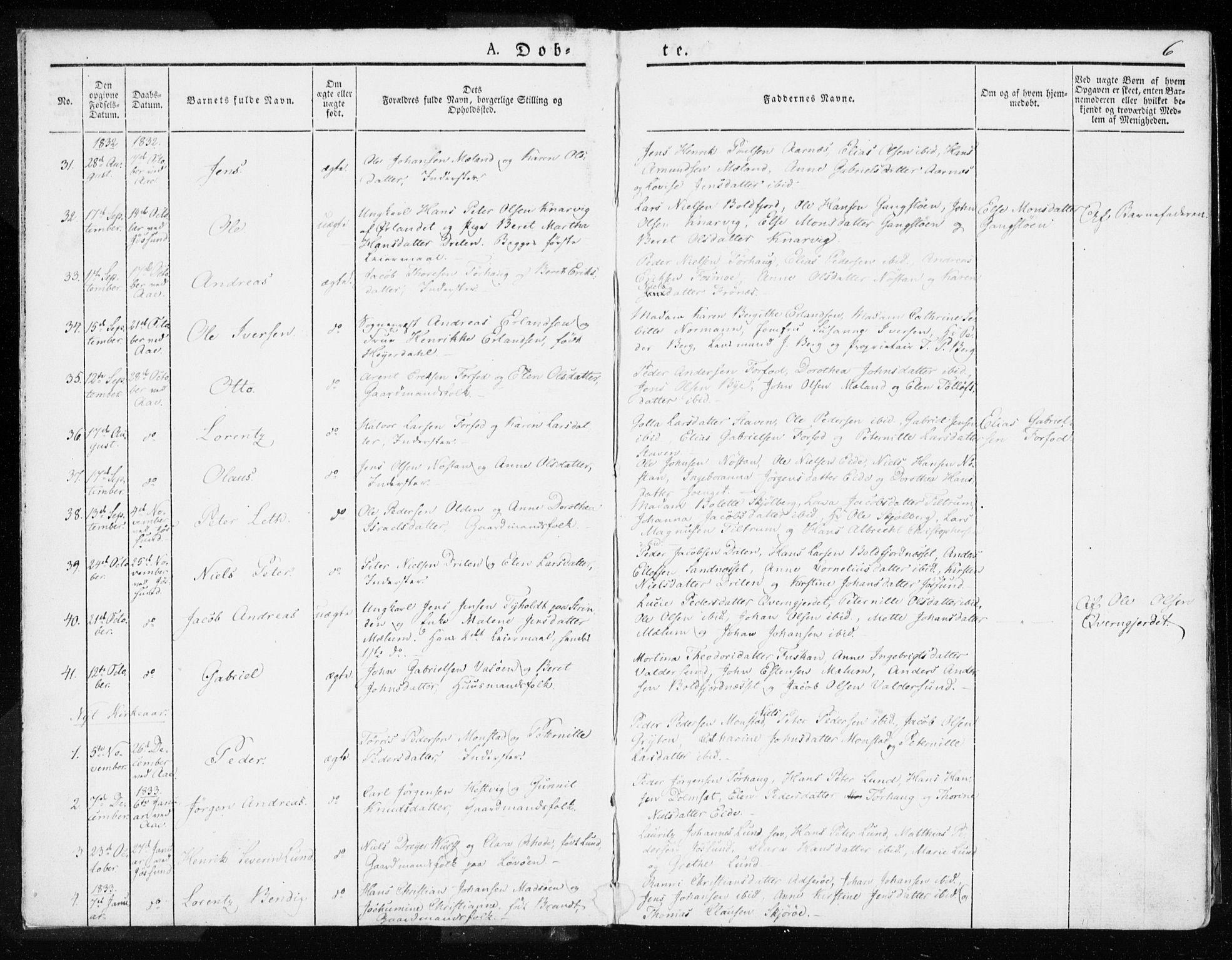 SAT, Ministerialprotokoller, klokkerbøker og fødselsregistre - Sør-Trøndelag, 655/L0676: Ministerialbok nr. 655A05, 1830-1847, s. 6