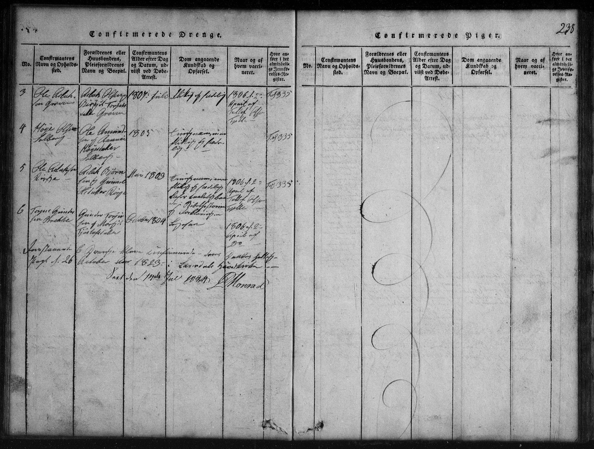 SAKO, Rauland kirkebøker, G/Gb/L0001: Klokkerbok nr. II 1, 1815-1886, s. 238