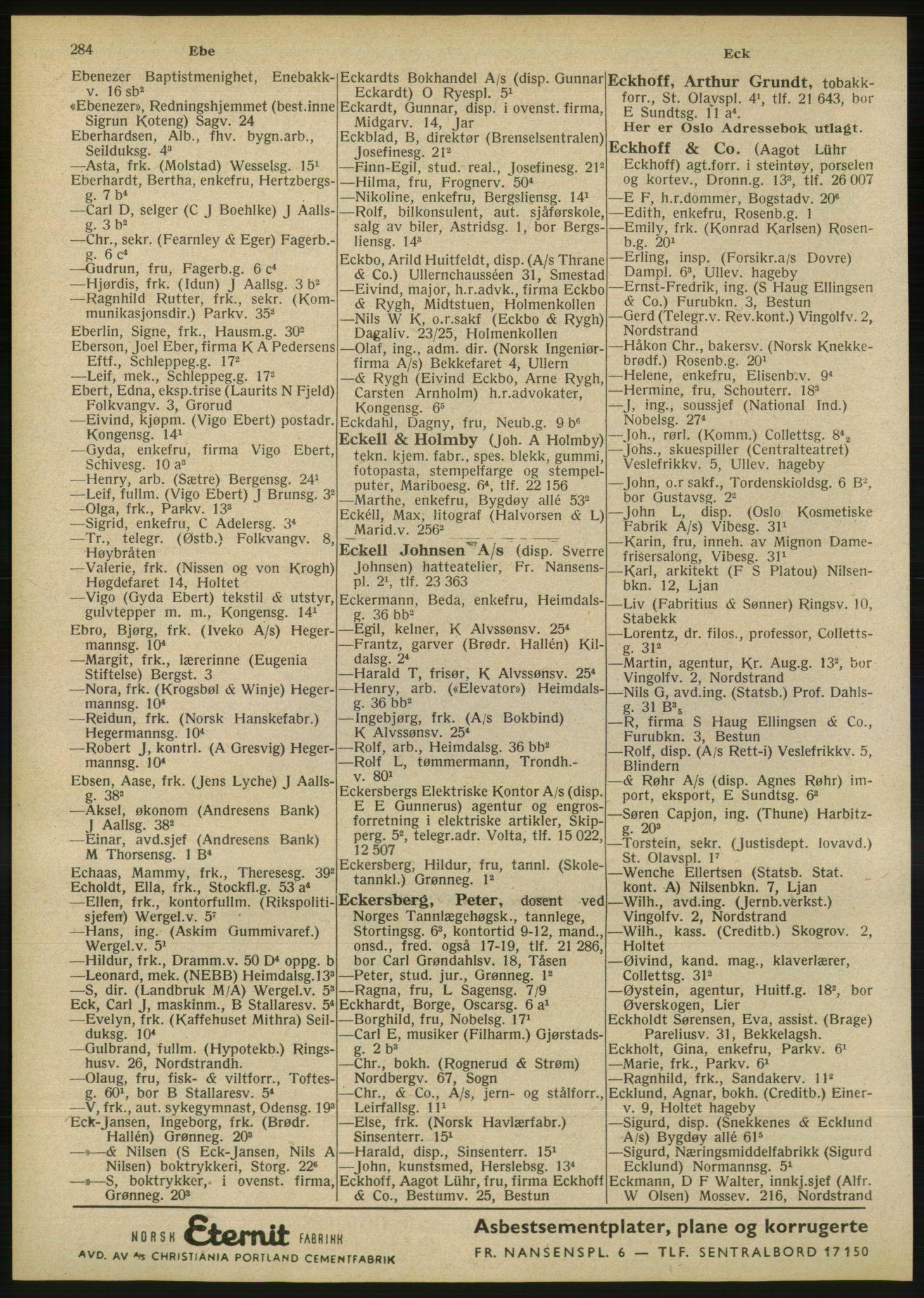 RA, Oslo adressebok (publikasjon)*, 1946, s. 284