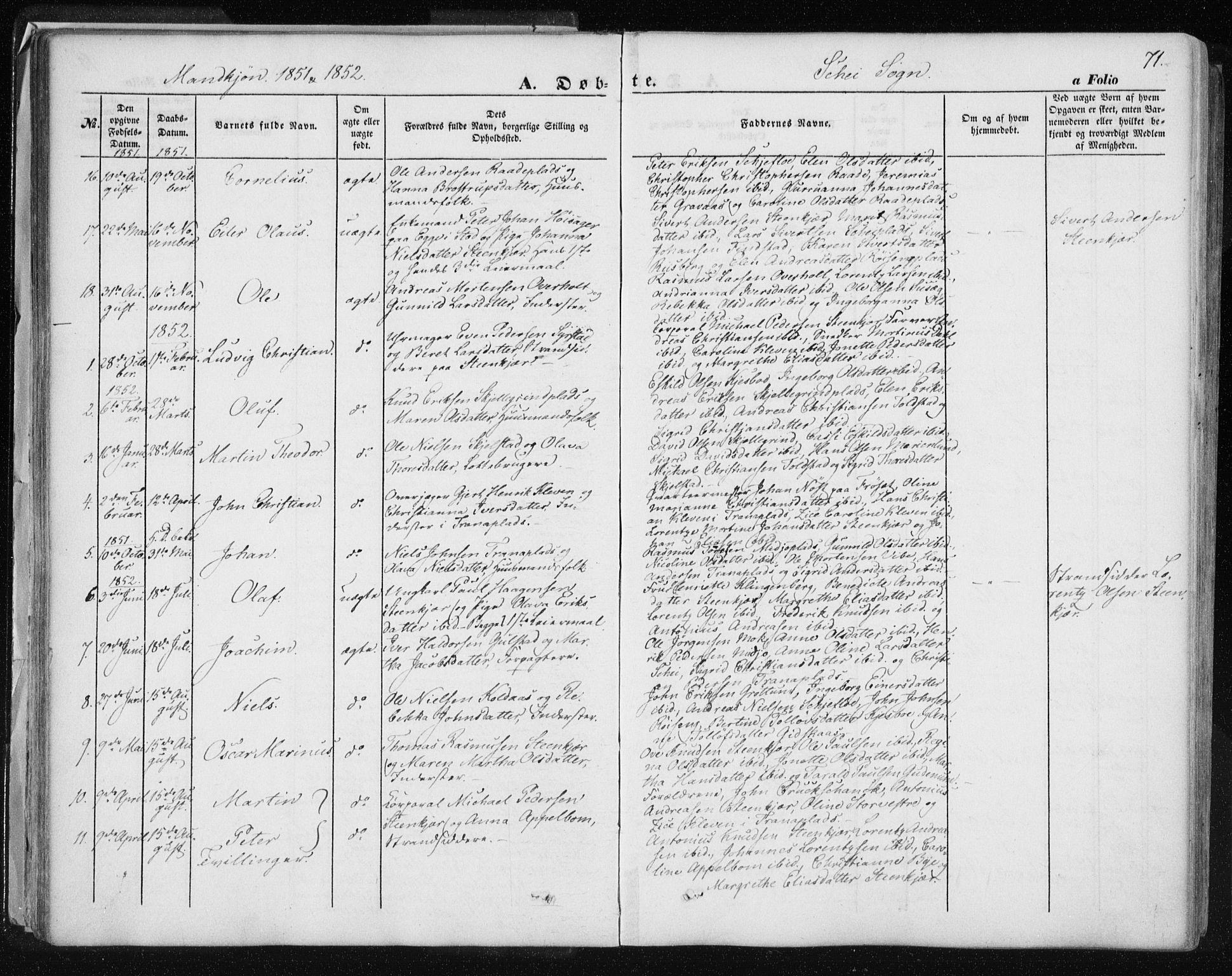 SAT, Ministerialprotokoller, klokkerbøker og fødselsregistre - Nord-Trøndelag, 735/L0342: Ministerialbok nr. 735A07 /2, 1849-1862, s. 71