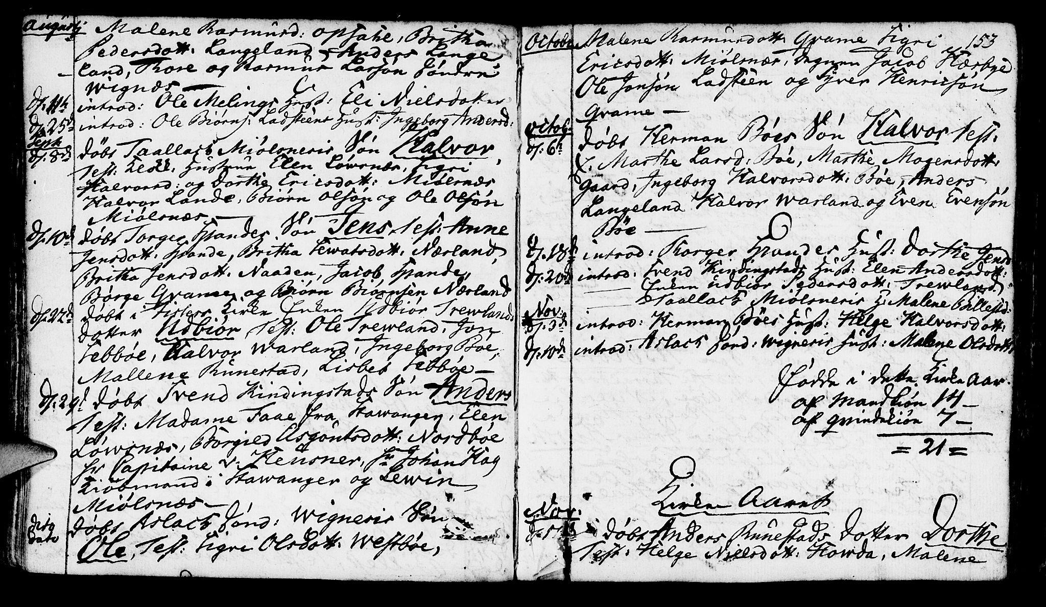 SAST, Finnøy sokneprestkontor, H/Ha/Haa/L0005: Ministerialbok nr. A 5, 1773-1816, s. 153