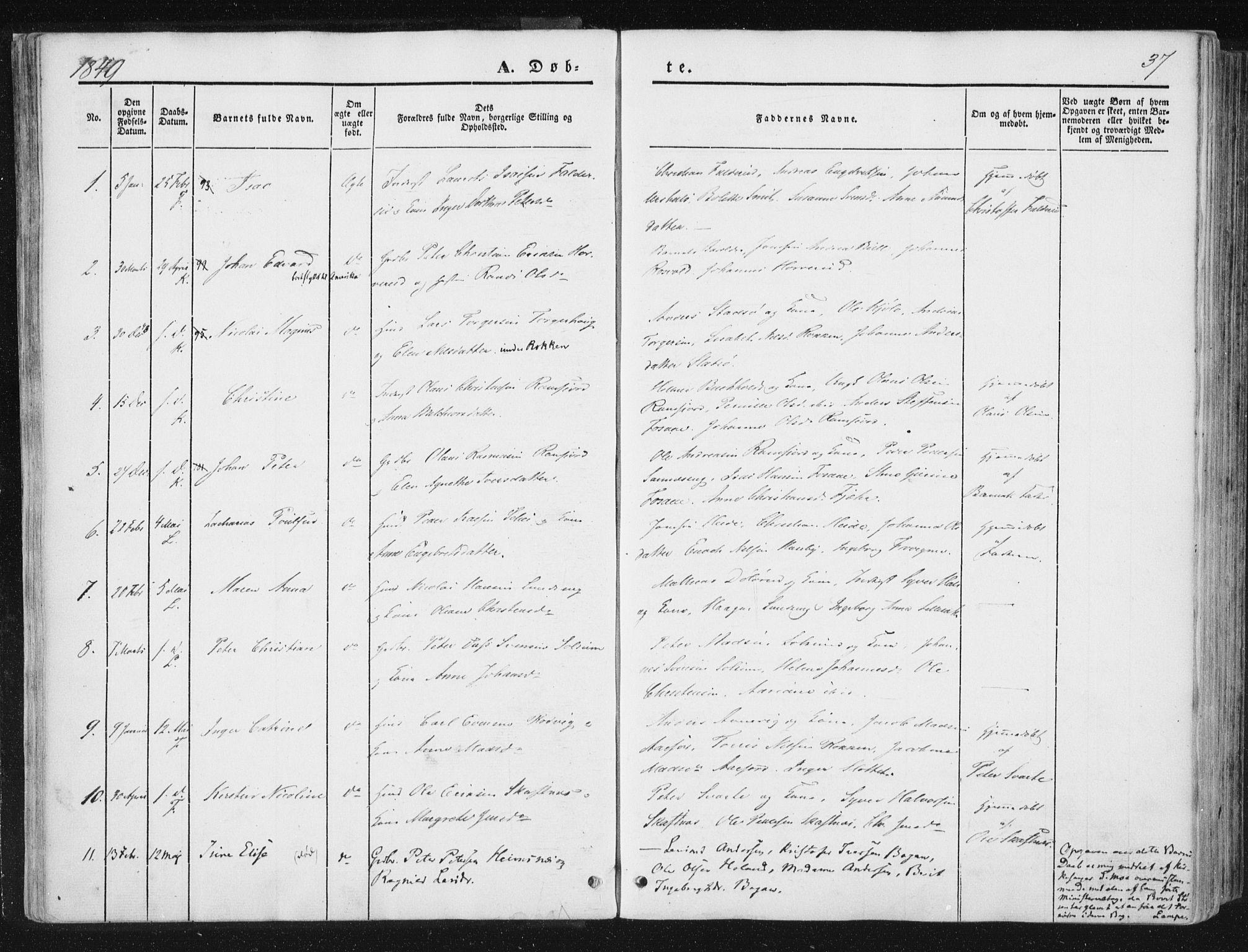 SAT, Ministerialprotokoller, klokkerbøker og fødselsregistre - Nord-Trøndelag, 780/L0640: Ministerialbok nr. 780A05, 1845-1856, s. 37