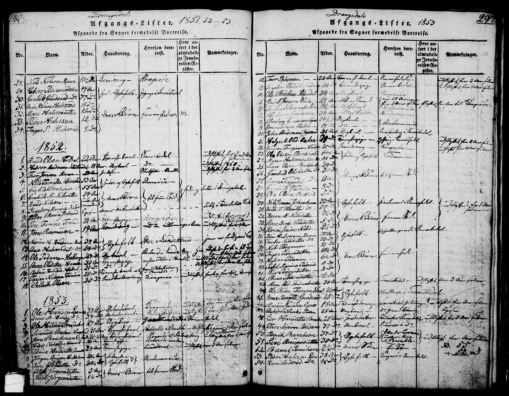 SAKO, Drangedal kirkebøker, G/Ga/L0001: Klokkerbok nr. I 1 /1, 1814-1856, s. 297