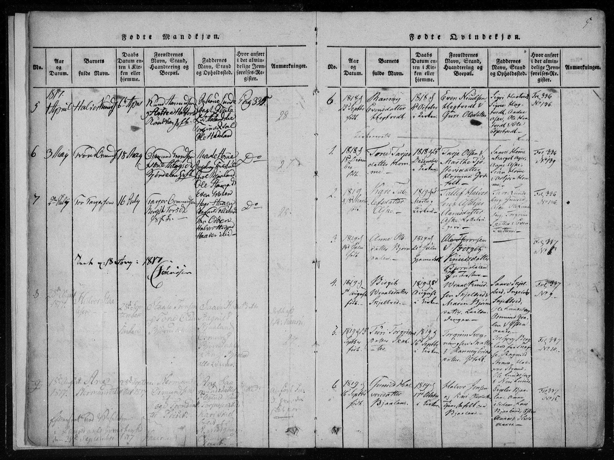 SAKO, Lårdal kirkebøker, F/Fa/L0005: Ministerialbok nr. I 5, 1815-1860, s. 5