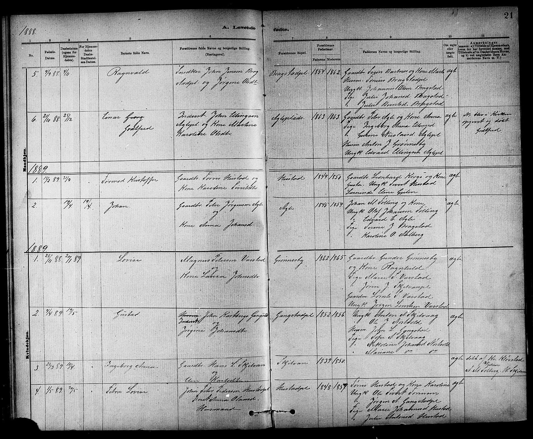 SAT, Ministerialprotokoller, klokkerbøker og fødselsregistre - Nord-Trøndelag, 732/L0318: Klokkerbok nr. 732C02, 1881-1911, s. 21