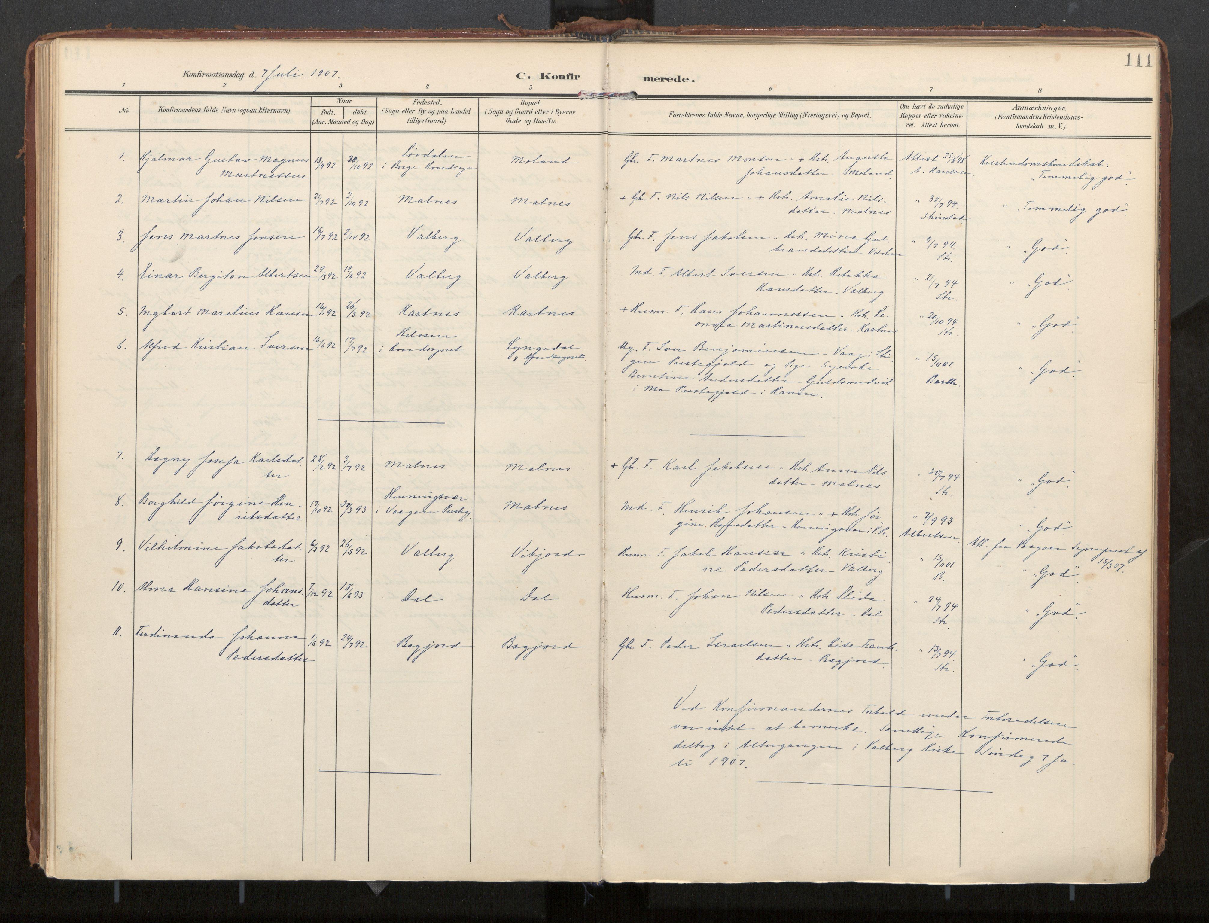 SAT, Ministerialprotokoller, klokkerbøker og fødselsregistre - Nordland, 884/L1194: Ministerialbok nr. 884A02, 1906-1937, s. 111