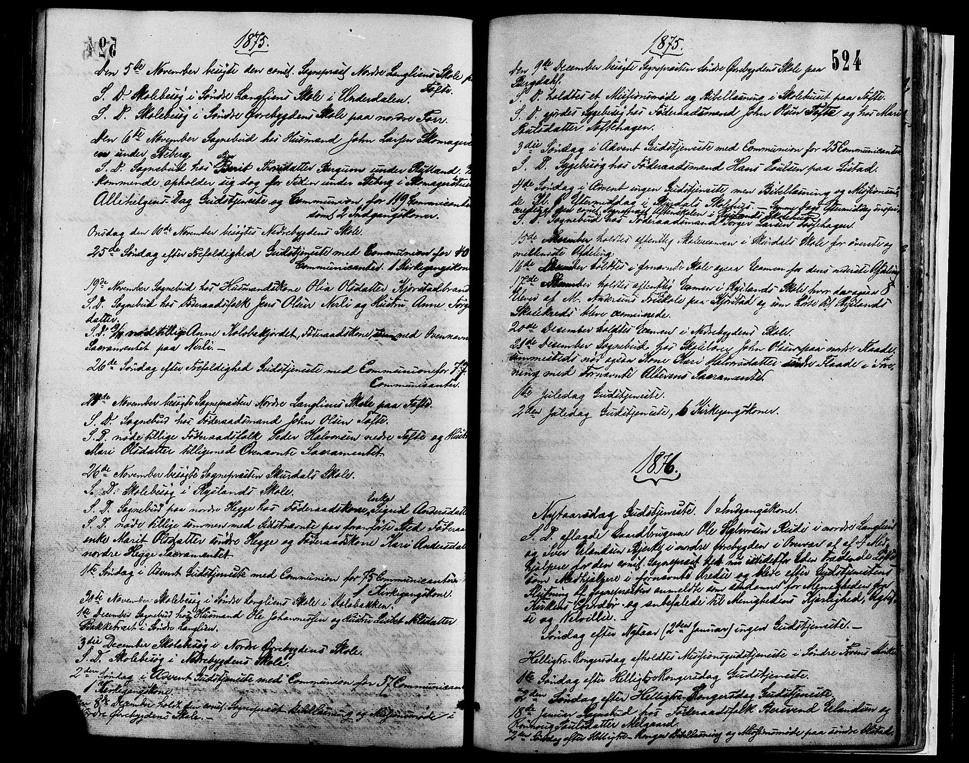SAH, Sør-Fron prestekontor, H/Ha/Haa/L0002: Ministerialbok nr. 2, 1864-1880, s. 524