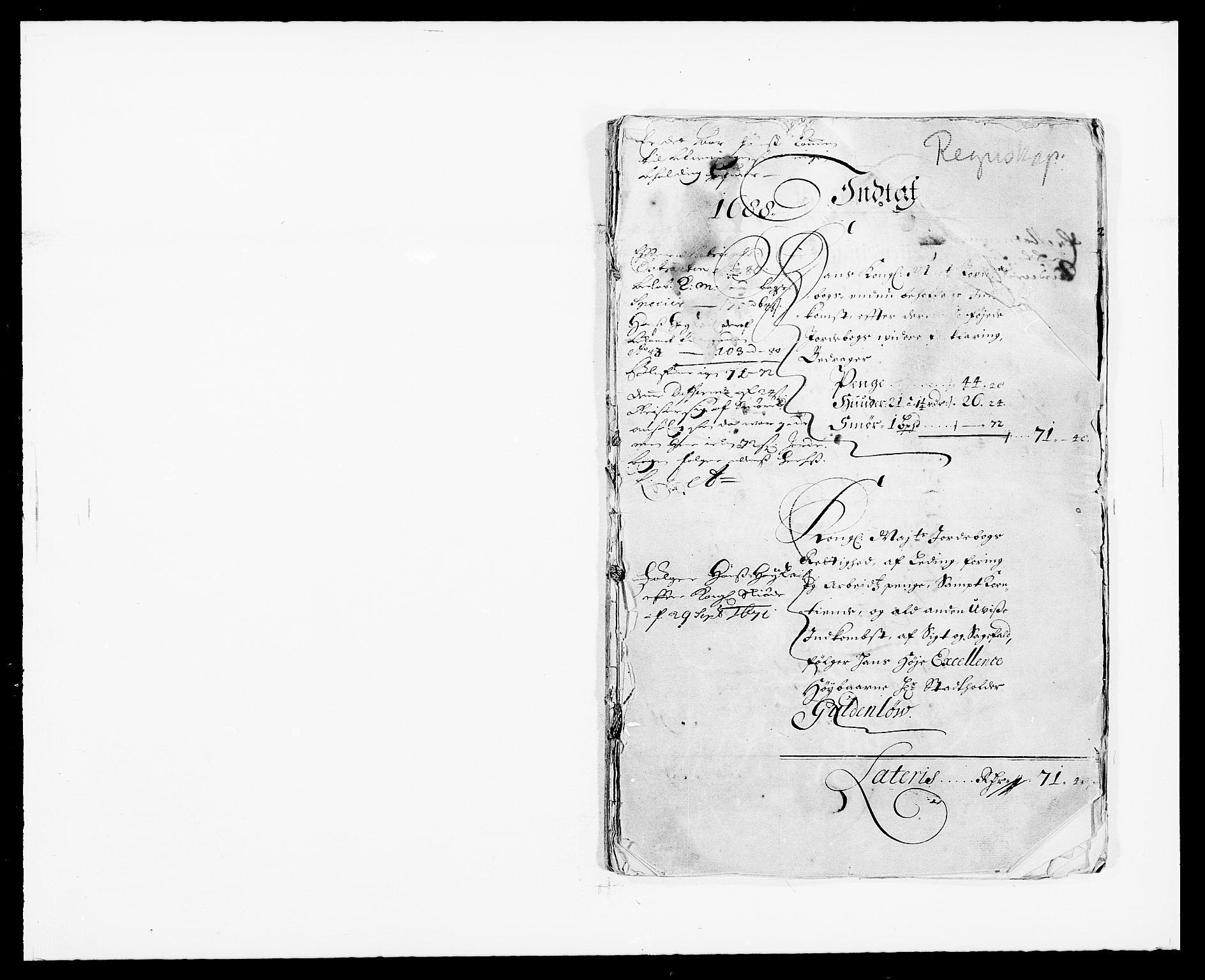 RA, Rentekammeret inntil 1814, Reviderte regnskaper, Fogderegnskap, R33/L1971: Fogderegnskap Larvik grevskap, 1688-1689, s. 1