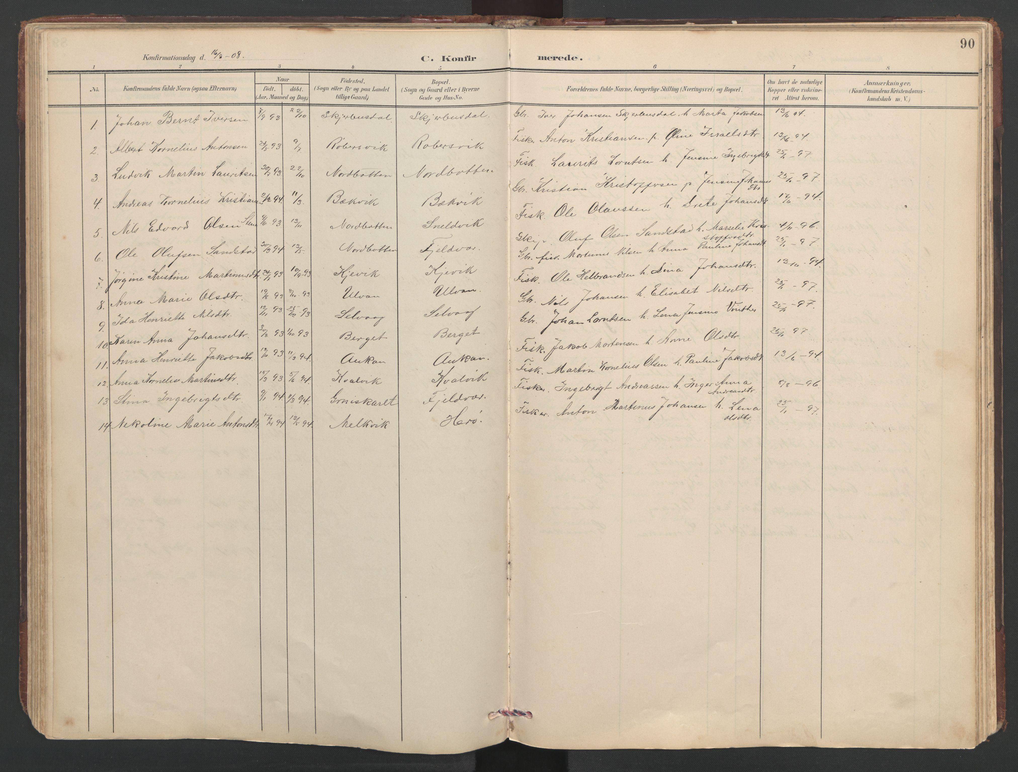 SAT, Ministerialprotokoller, klokkerbøker og fødselsregistre - Sør-Trøndelag, 638/L0571: Klokkerbok nr. 638C03, 1901-1930, s. 90