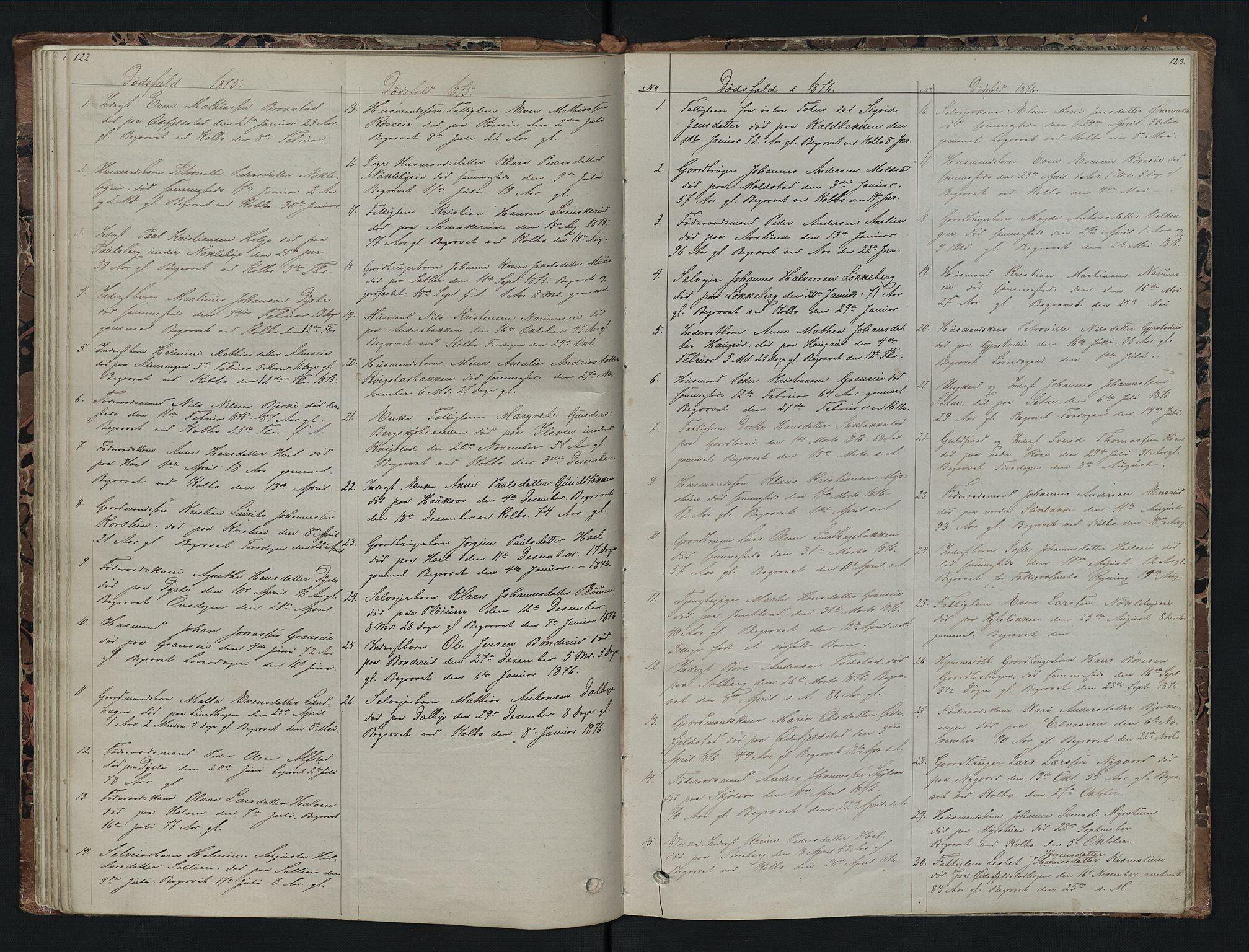 SAH, Vestre Toten prestekontor, Klokkerbok nr. 7, 1872-1900, s. 122-123