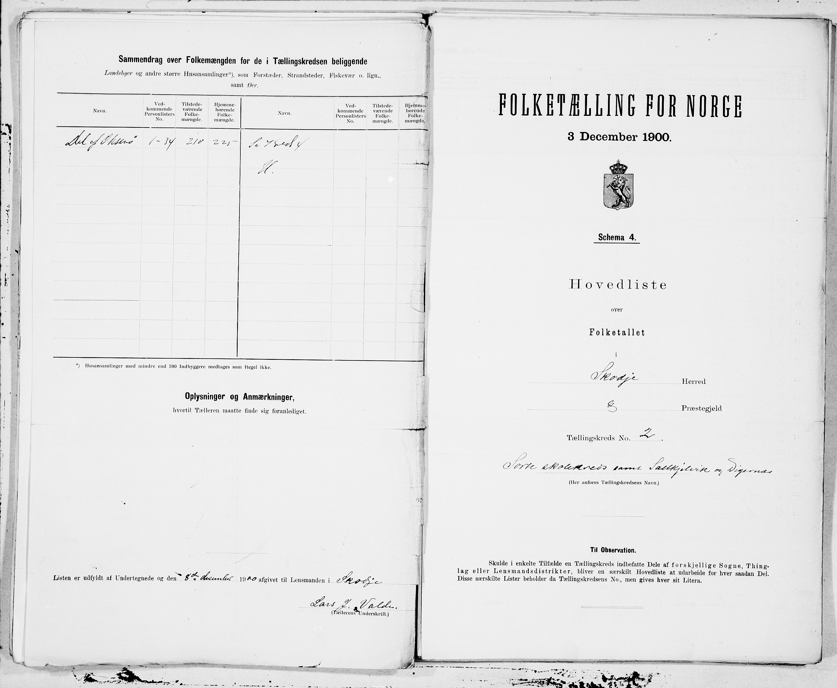SAT, Folketelling 1900 for 1529 Skodje herred, 1900, s. 4