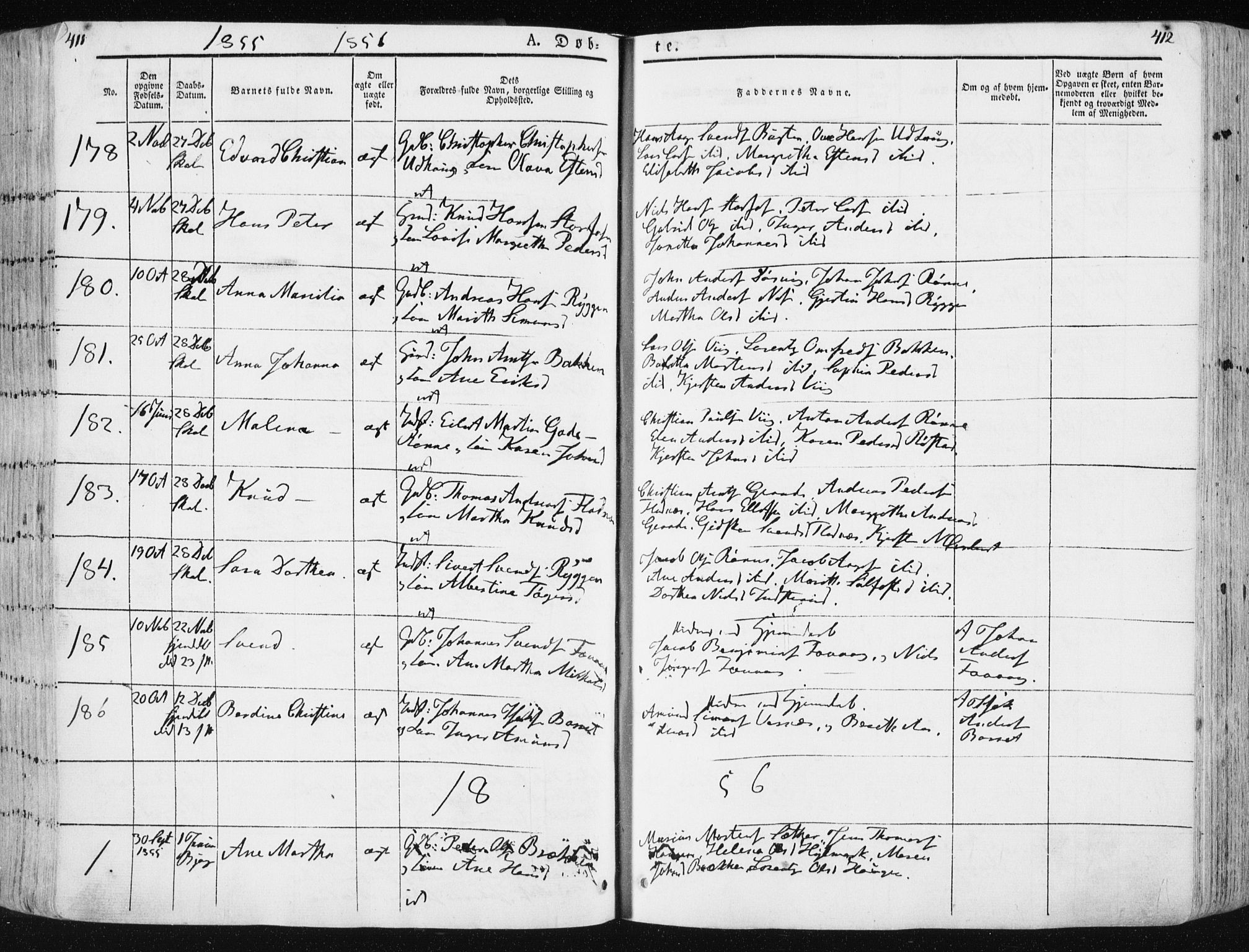 SAT, Ministerialprotokoller, klokkerbøker og fødselsregistre - Sør-Trøndelag, 659/L0736: Ministerialbok nr. 659A06, 1842-1856, s. 411-412