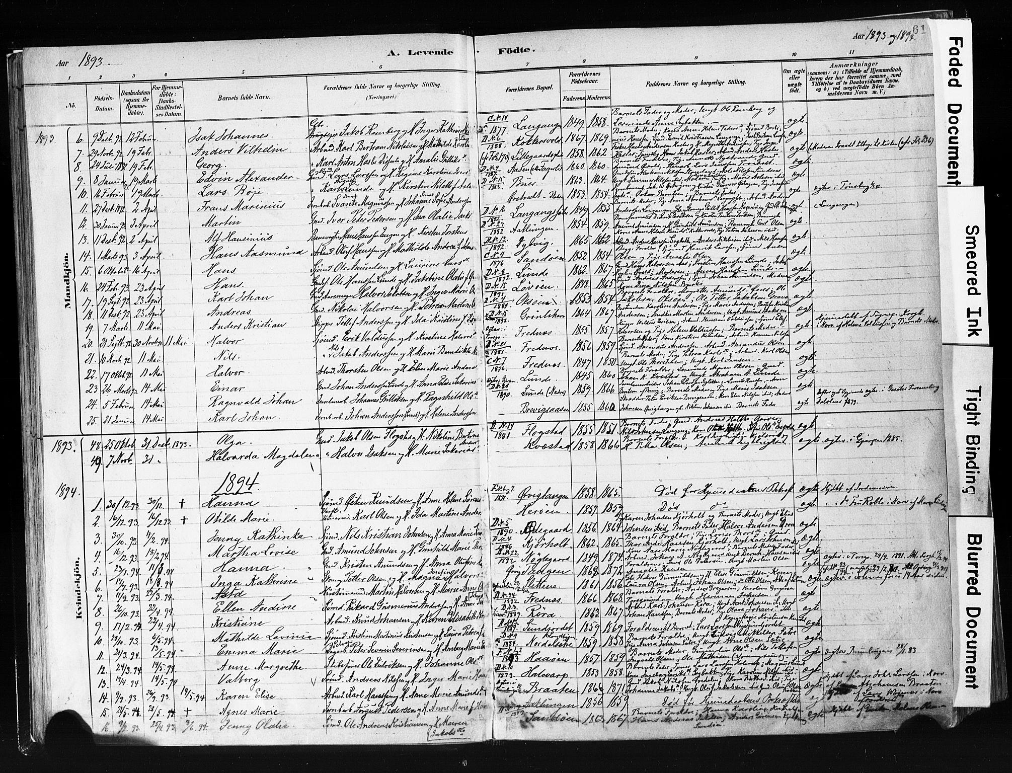 SAKO, Eidanger kirkebøker, F/Fa/L0012: Ministerialbok nr. 12, 1879-1900, s. 61