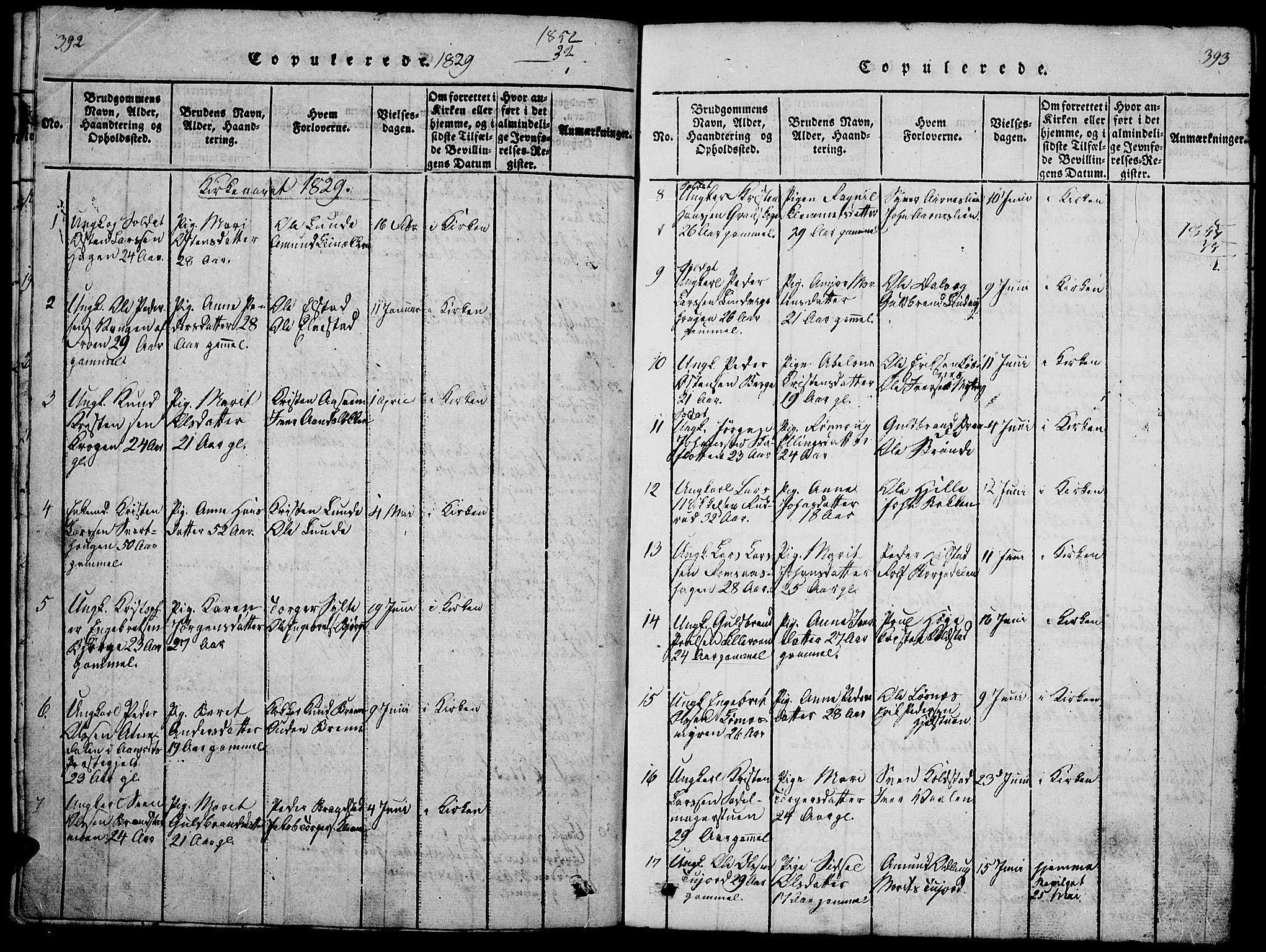 SAH, Ringebu prestekontor, Klokkerbok nr. 1, 1821-1839, s. 392-393